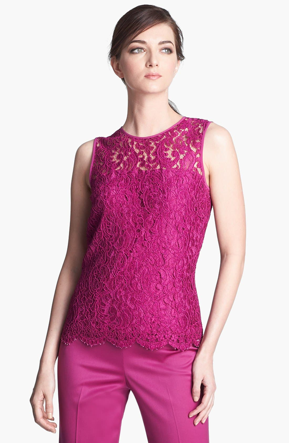 Plume Lace Top,                         Main,                         color, Magenta