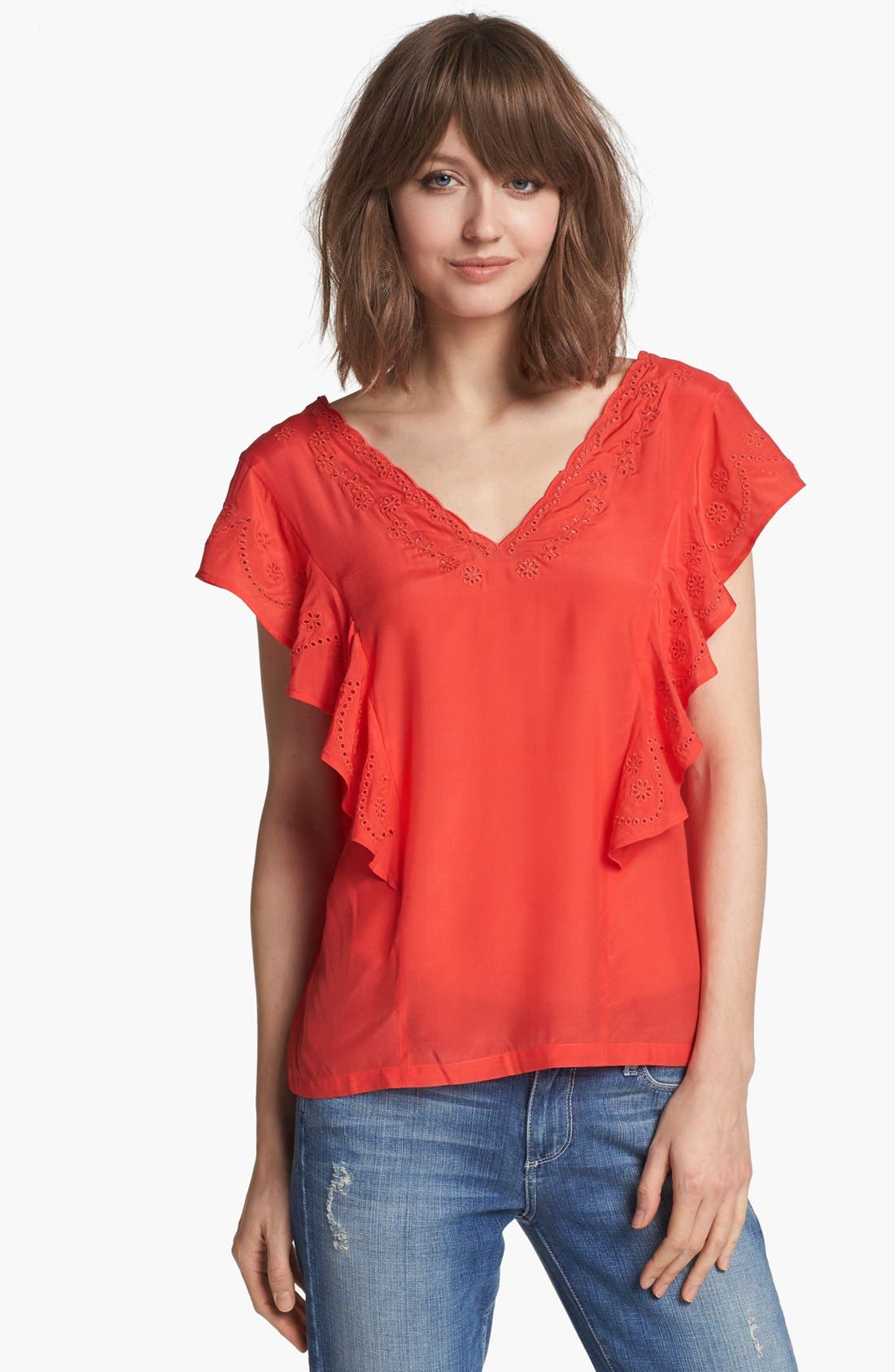Alternate Image 1 Selected - Hinge® Ruffle Embroidered Top