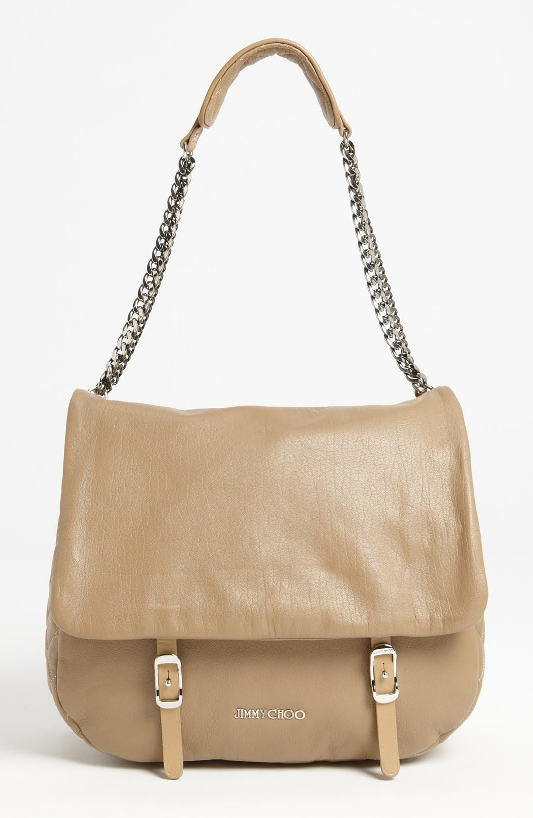 Alternate Image 1 Selected - Jimmy Choo 'Becka Biker - Large' Leather Shoulder Bag