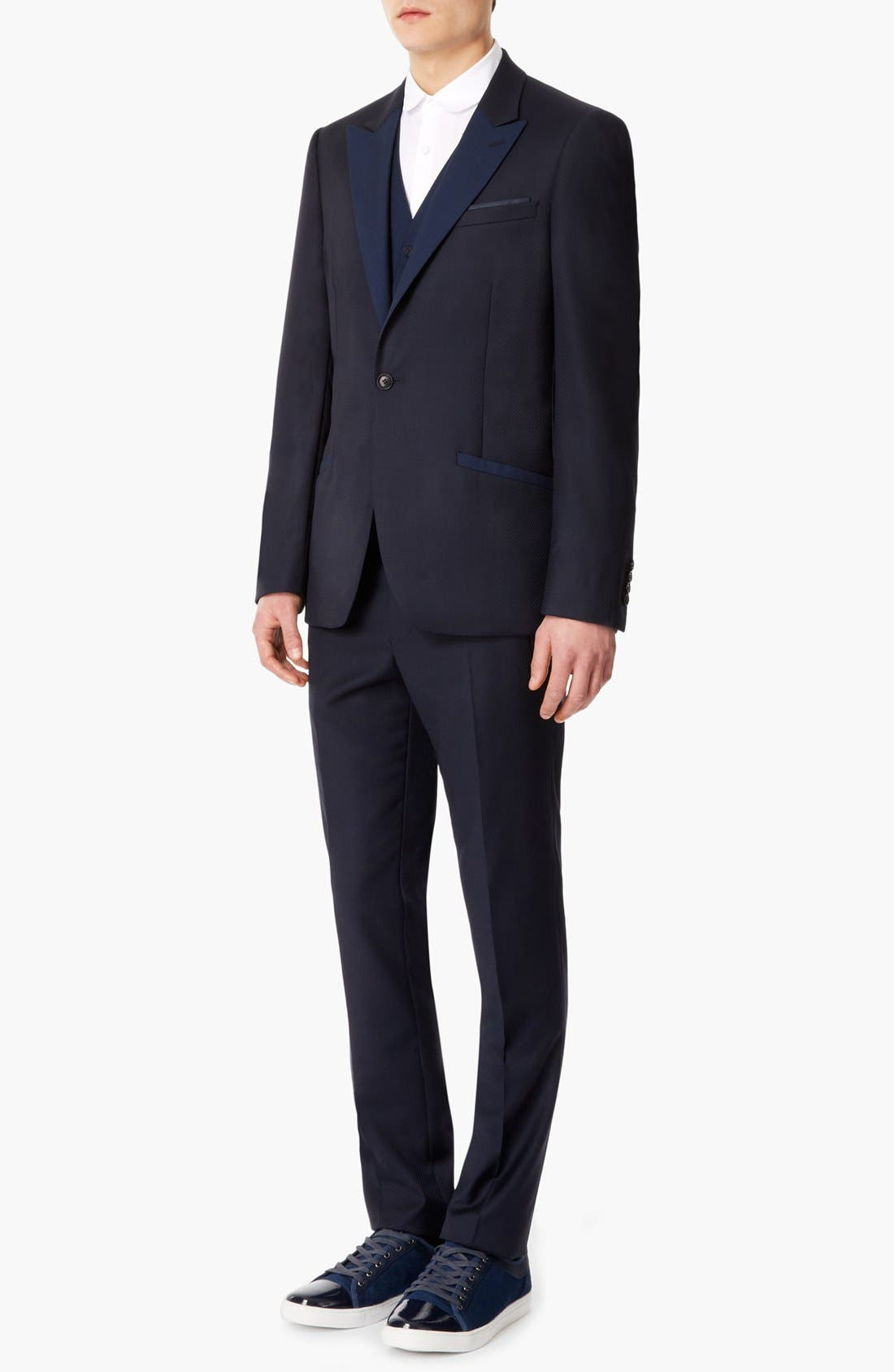 Alternate Image 4  - Topman 'Lux Collection' Slim Fit Navy Wool One Button Blazer