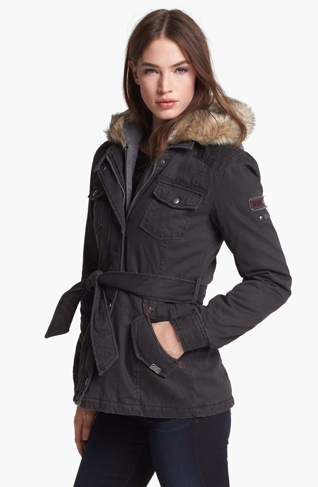 Main Image - Buffalo by David Bitton Faux Fur Trim Hooded Inset Jacket (Online Only)