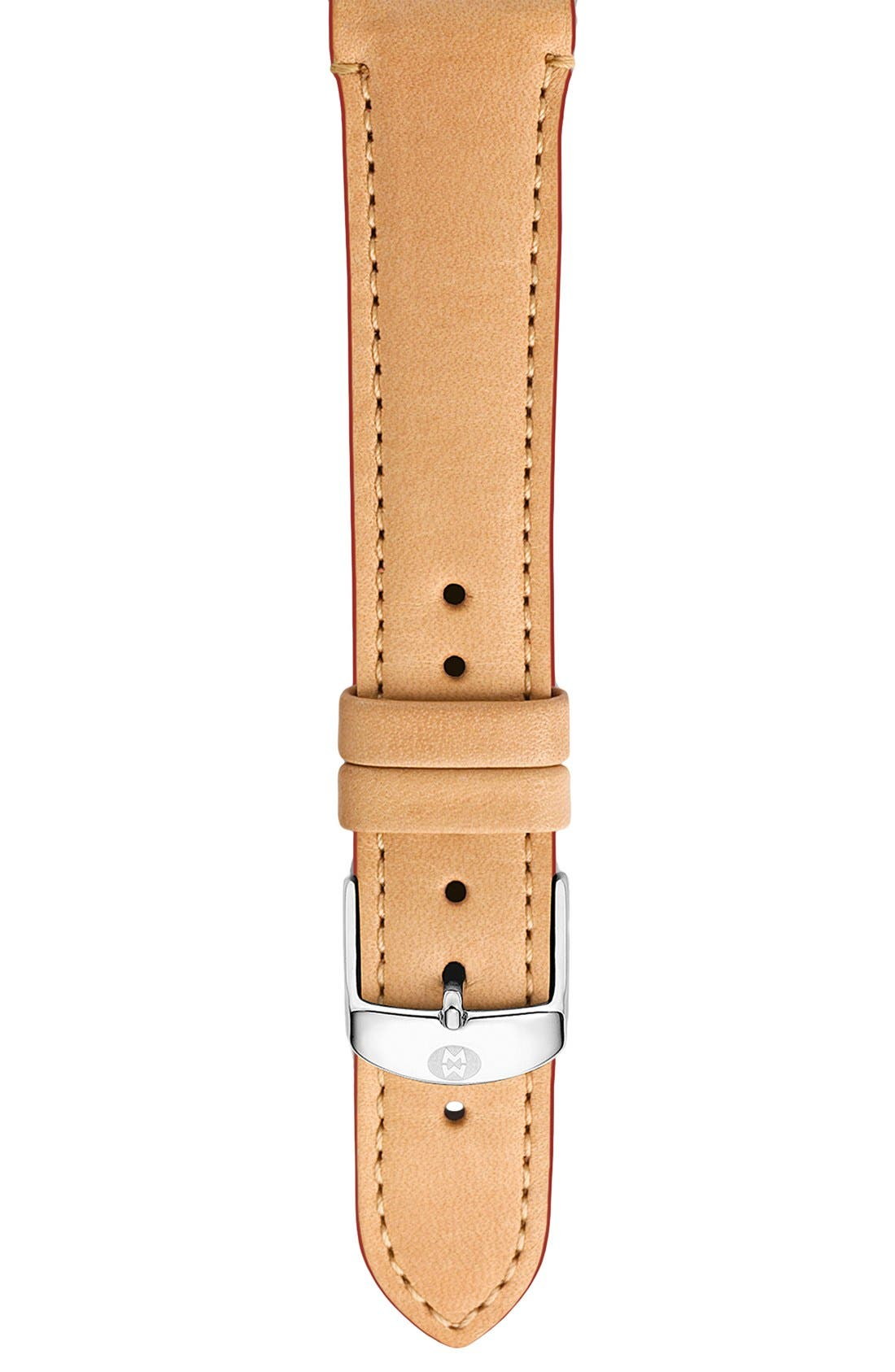 Alternate Image 1 Selected - MICHELE 18mm Calfskin Leather Watch Strap