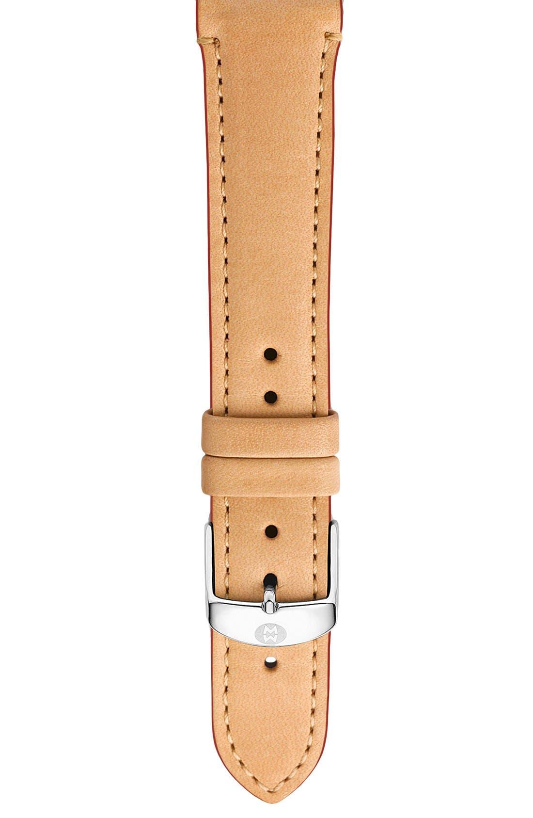 Main Image - MICHELE 18mm Calfskin Leather Watch Strap