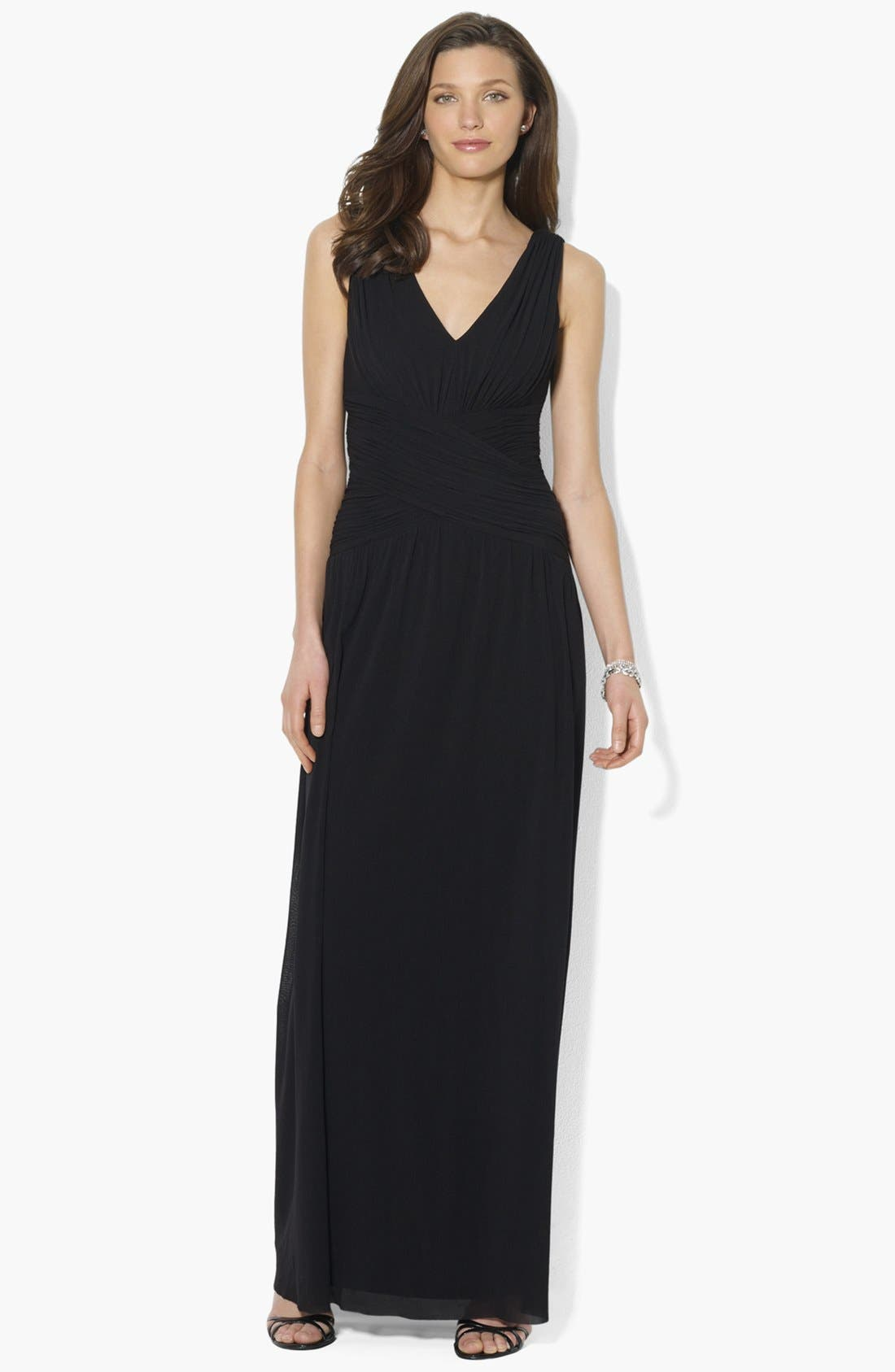 Main Image - Lauren Ralph Lauren Sleeveless Shirred Dress (Regular & Petite)