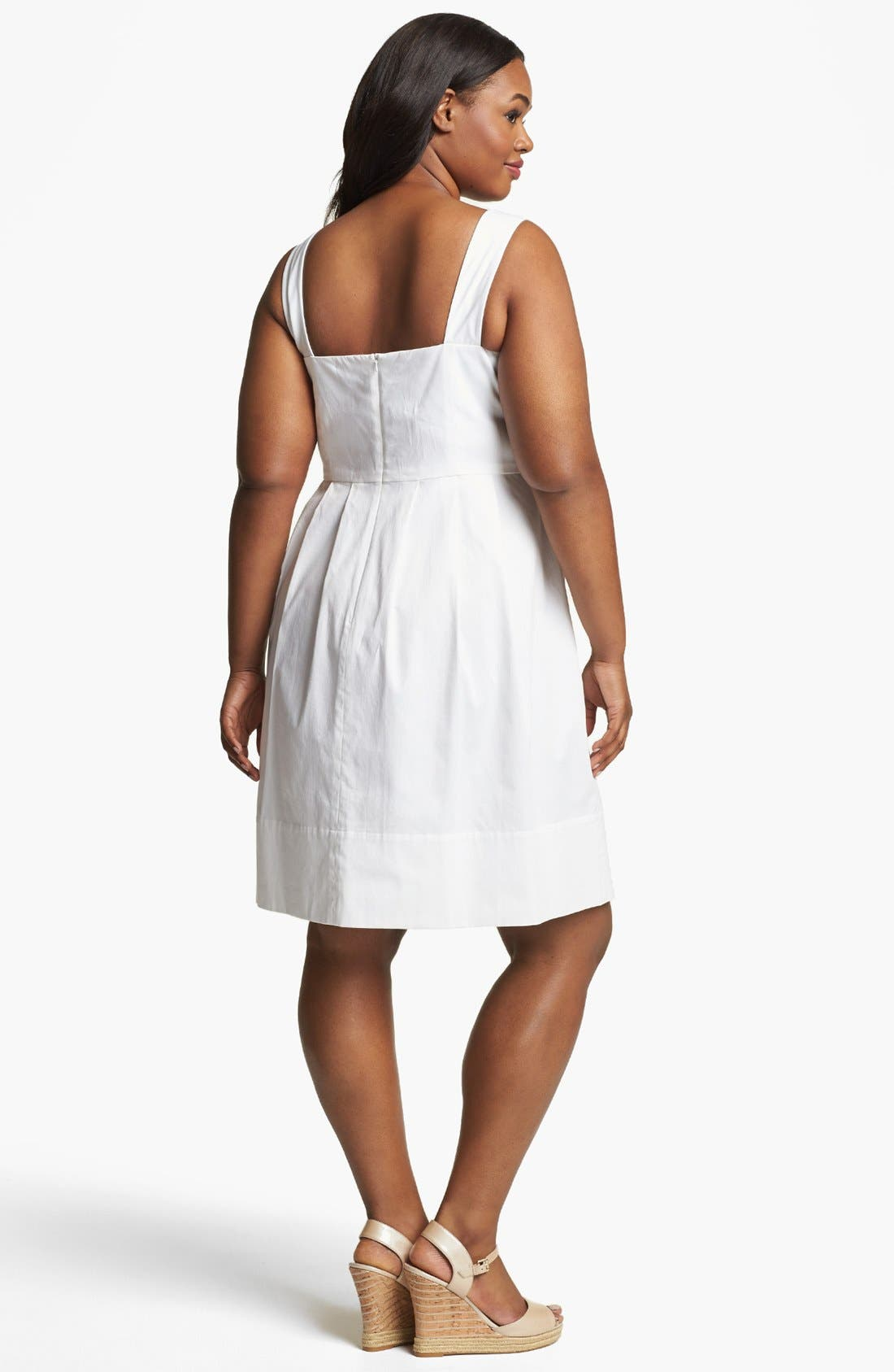 Alternate Image 2  - Donna Ricco Stretch Cotton Sundress (Plus Size)