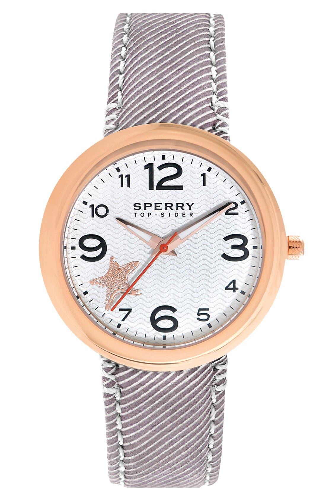 Main Image - Sperry Top-Sider® 'Sandbar' Round Seersucker Strap Watch, 40mm