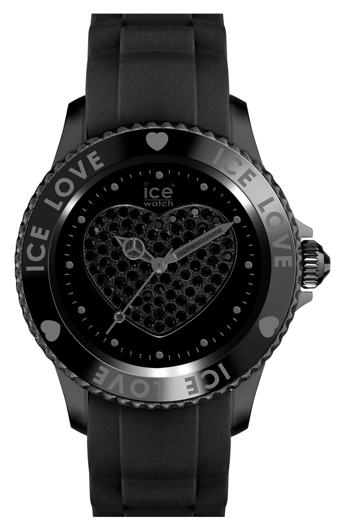 Alternate Image 1 Selected - ICE Watch 'Love Stones' Silicone Strap Watch, 43mm