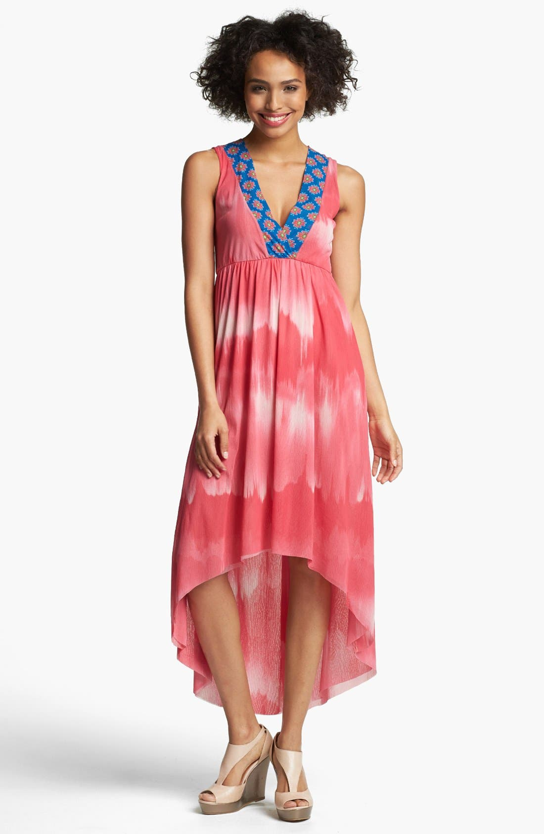 Main Image - Sweet Pea by Stacy Frati Print High/Low Surplice Dress