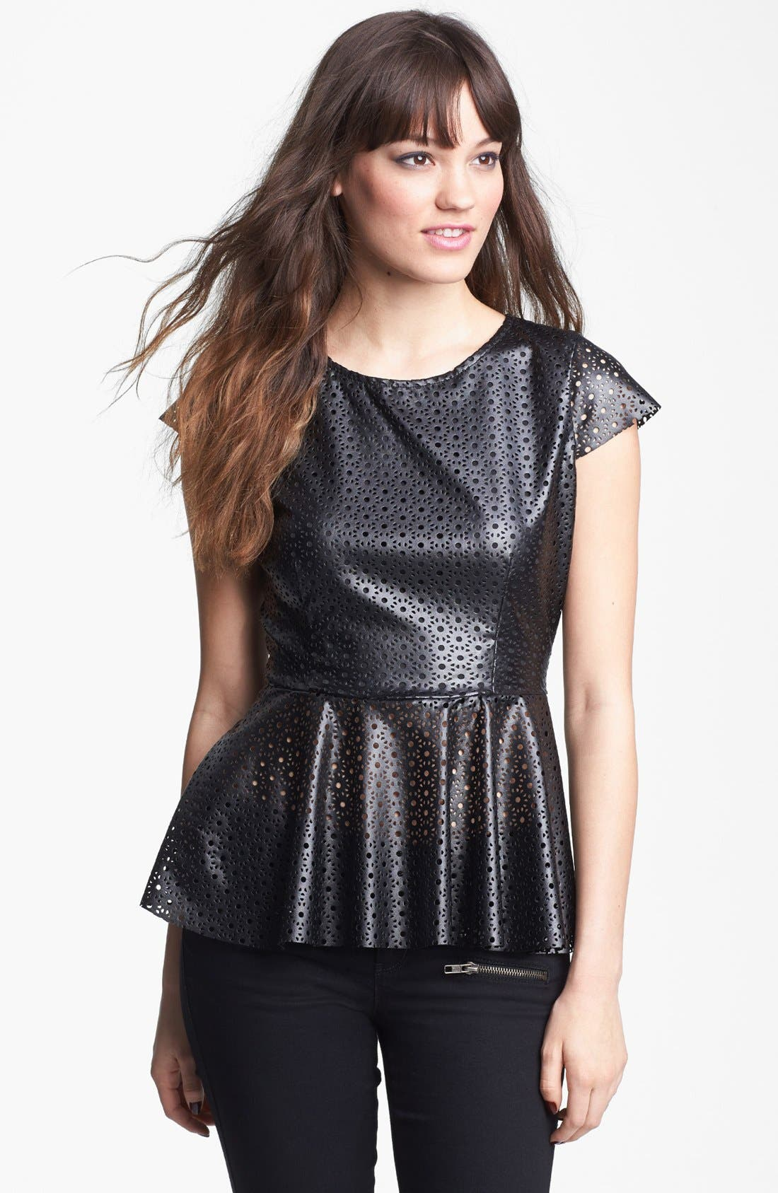 Alternate Image 1 Selected - Mimi Chica Faux Leather Peplum Top (Juniors)