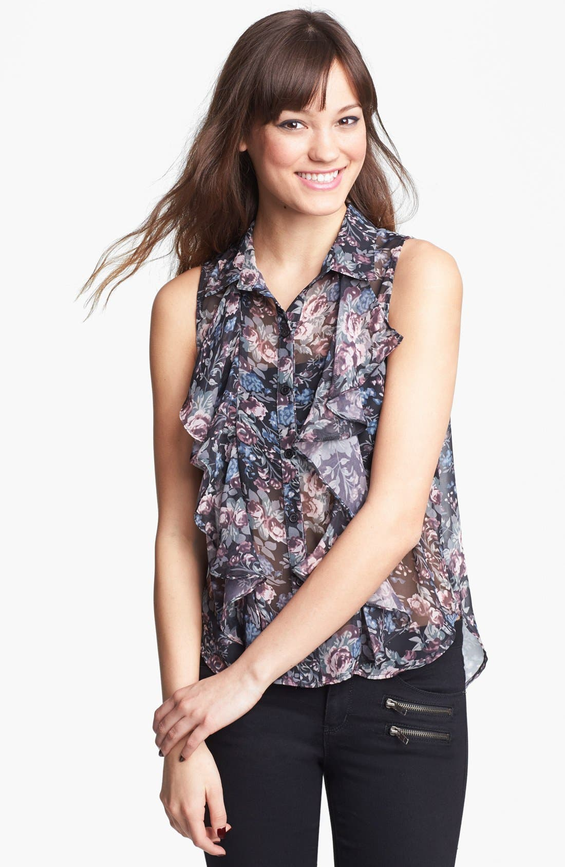 Alternate Image 1 Selected - Band of Gypsies Ruffle Front Top (Juniors)