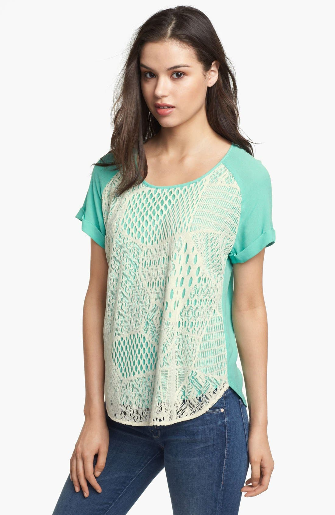 Alternate Image 1 Selected - Ella Moss Lace Front Tee
