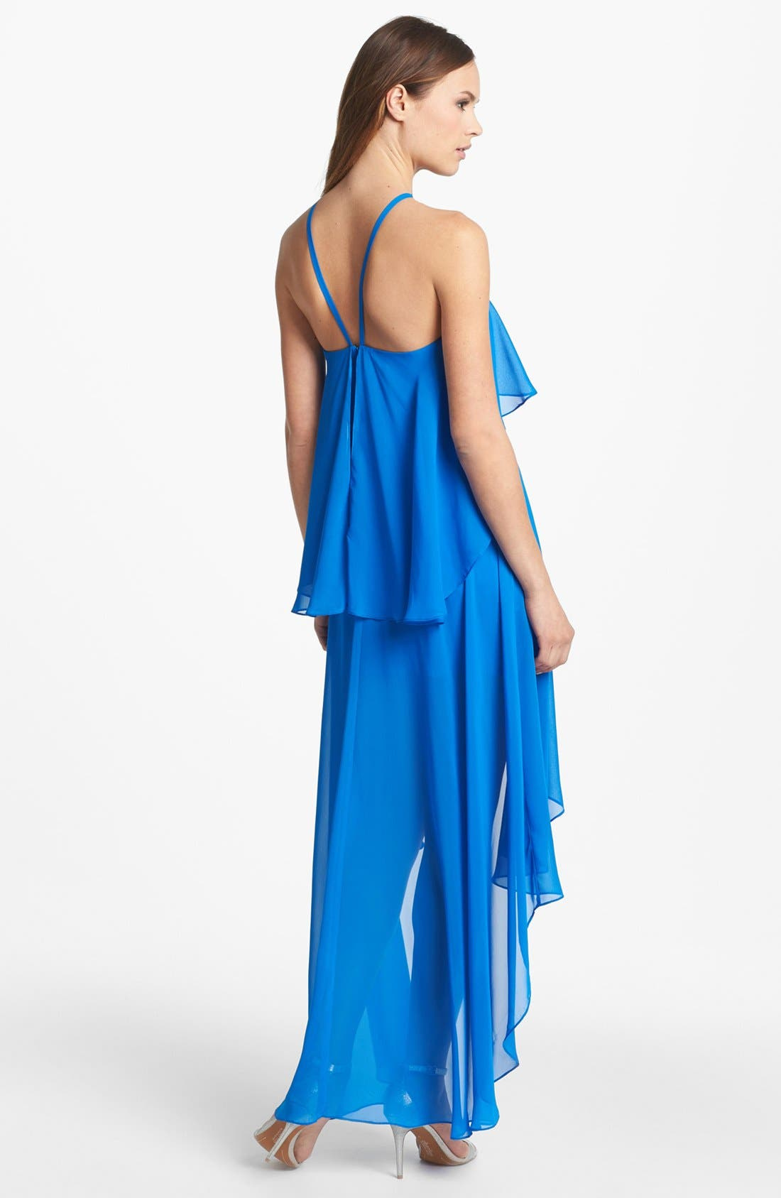 Alternate Image 2  - Hailey by Adrianna Papell Ruffled High/Low Chiffon Dress (Online Only)