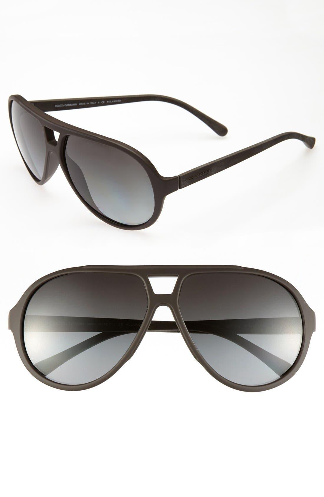 Alternate Image 1 Selected - Dolce&Gabbana 61mm Polarized Aviator Sunglasses