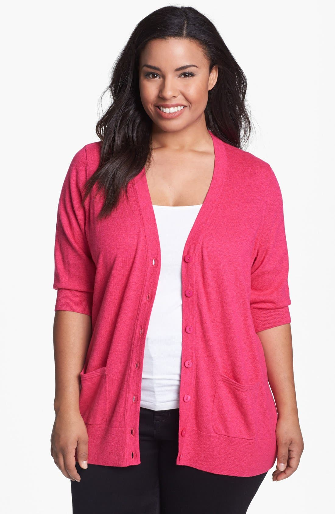 Alternate Image 1 Selected - Sejour 'Girlfriend' Elbow Sleeve Cardigan (Plus Size)