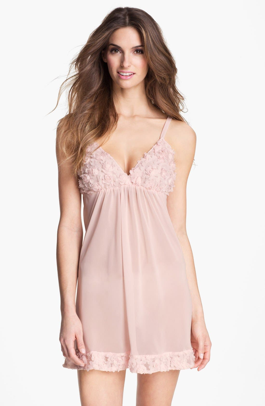 Alternate Image 1 Selected - Oscar de la Renta Sleepwear Rosette Trim Chemise