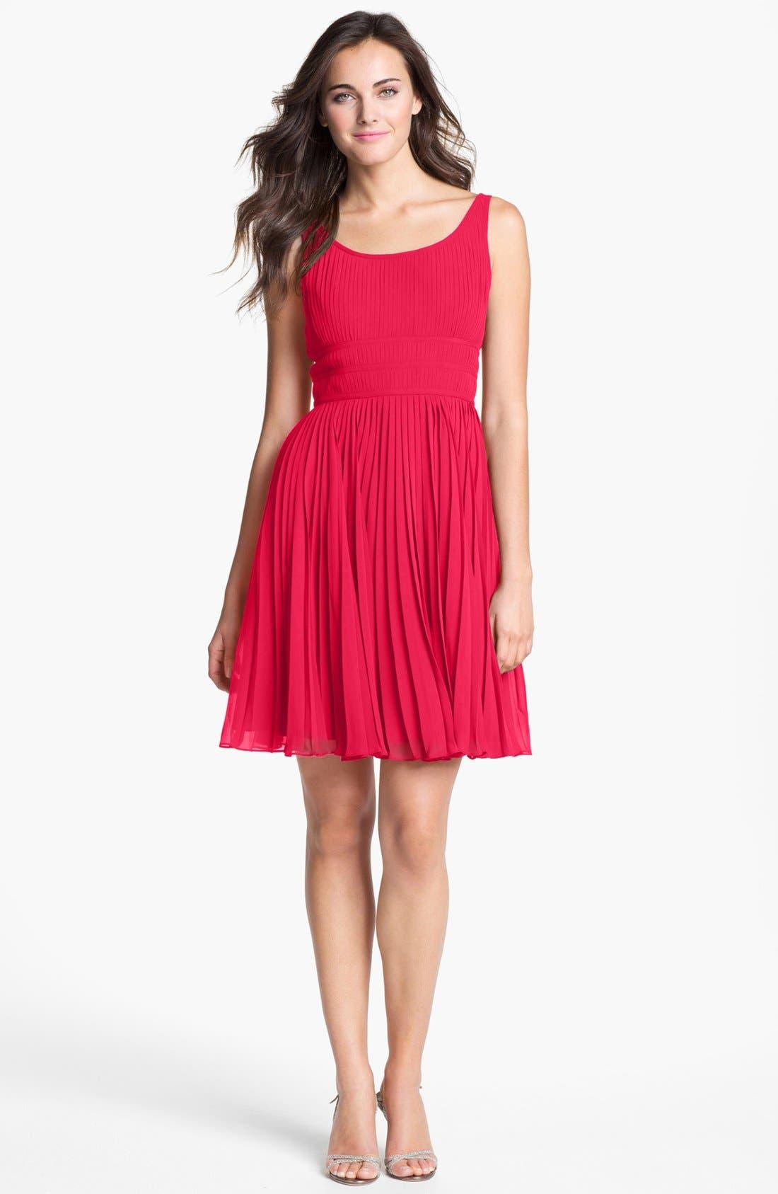 Pleated Chiffon Fit & Flare Dress,                         Main,                         color, Poppy