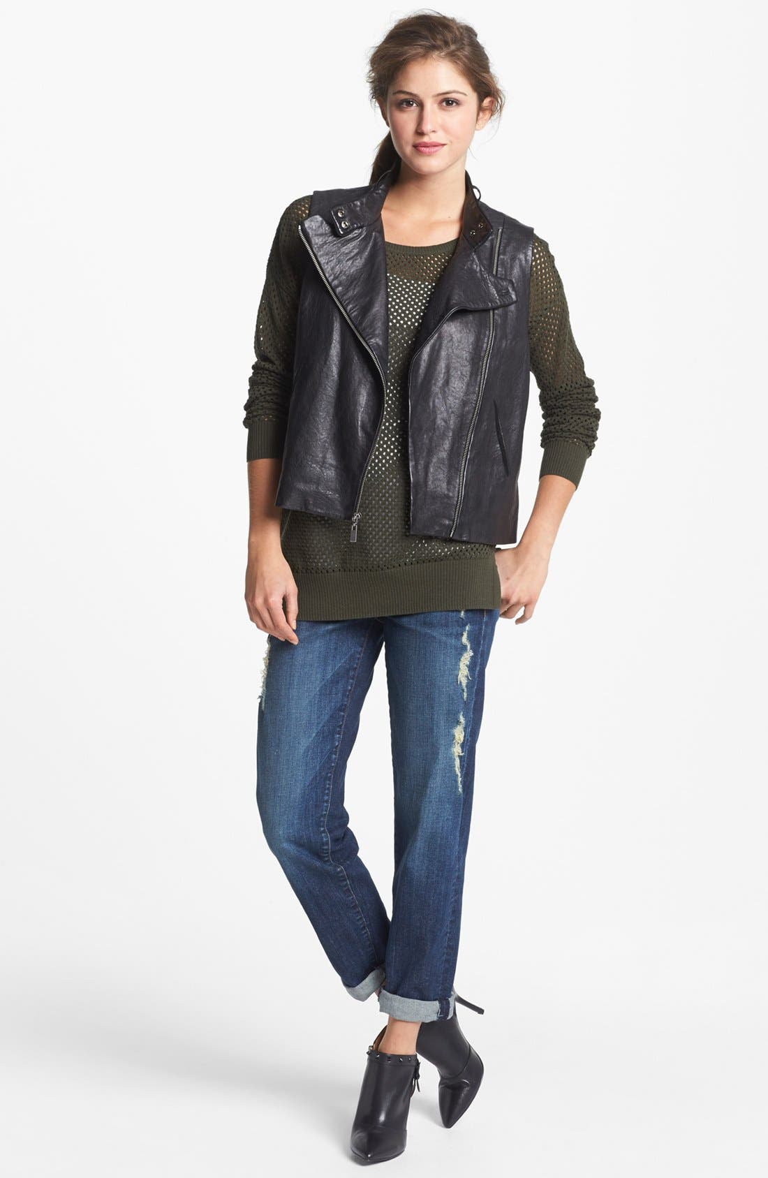 Alternate Image 1 Selected - Two by Vince Camuto Back Zip Faux Leather Moto Vest