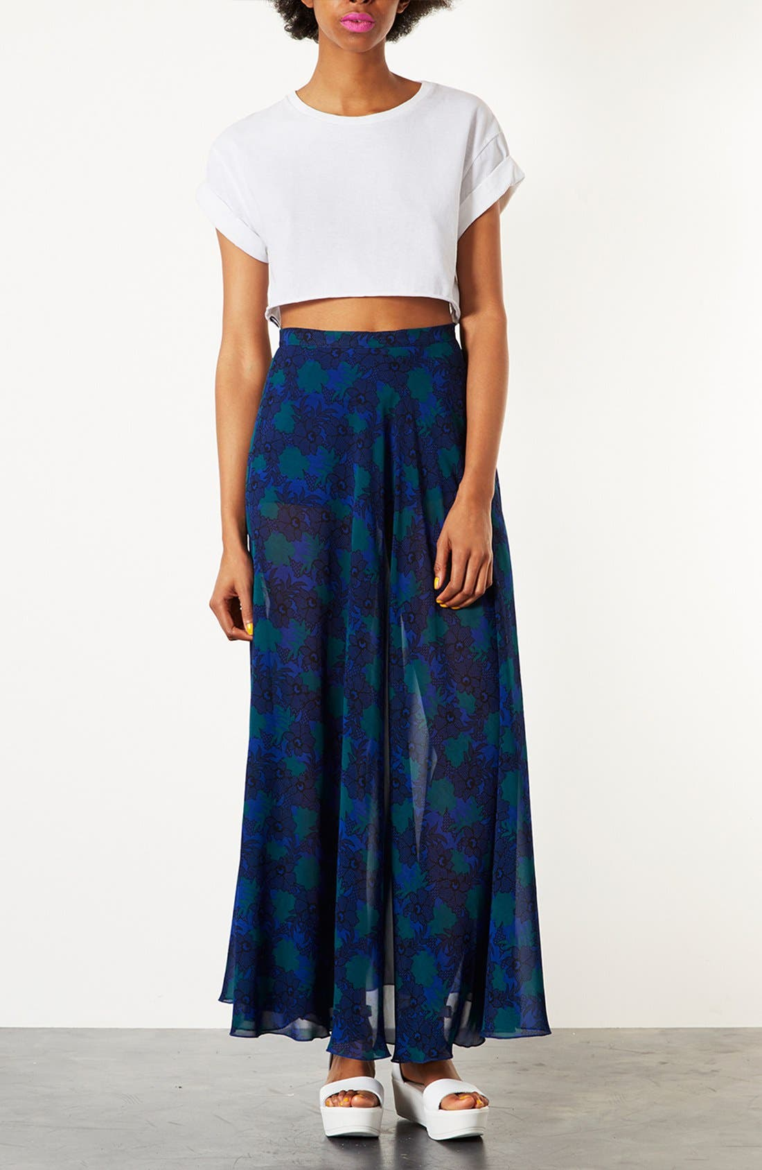 Alternate Image 4  - Topshop Lace Print Maxi Skirt