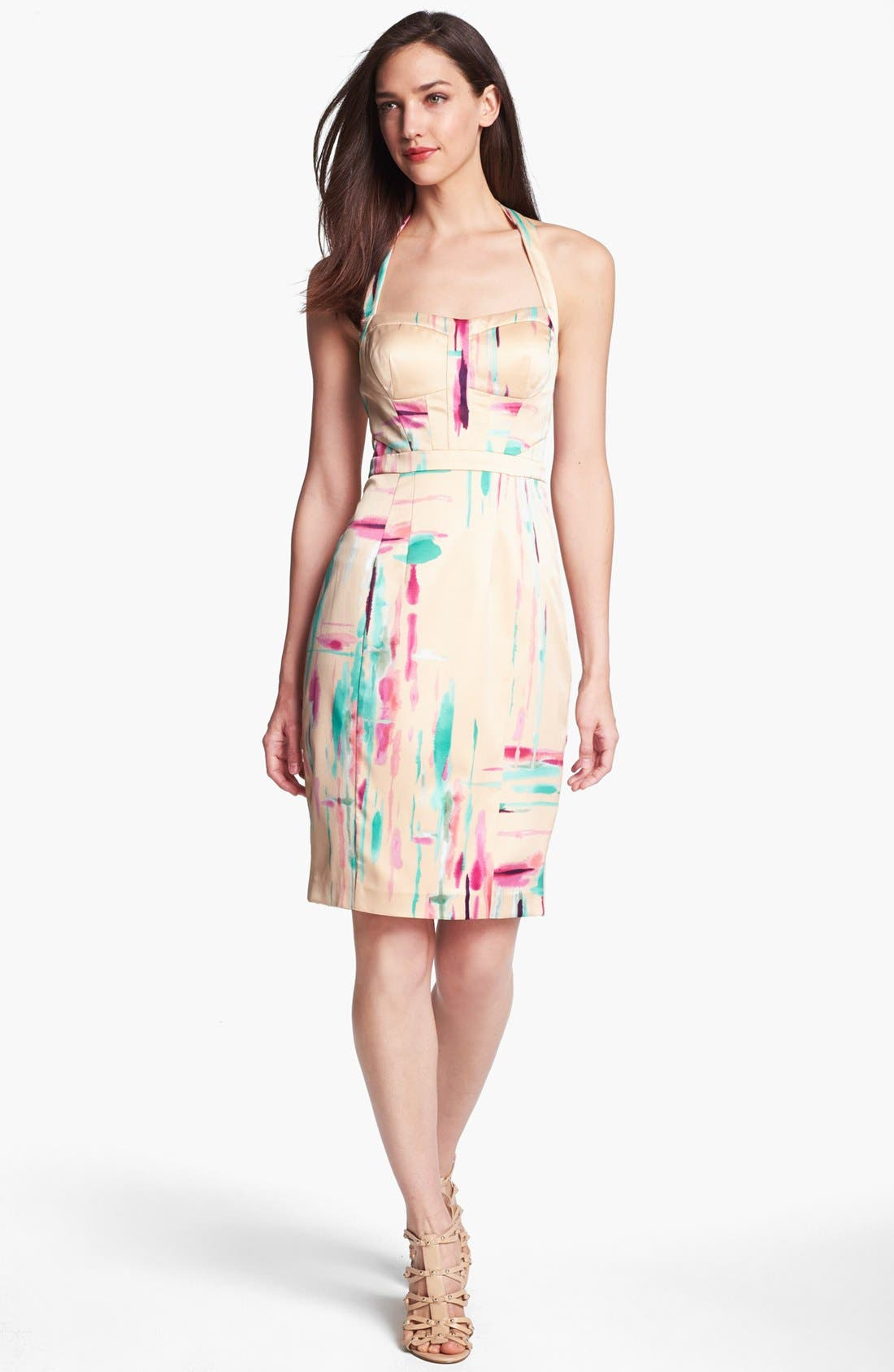 Alternate Image 1 Selected - Jessica Simpson Print Halter Pencil Dress