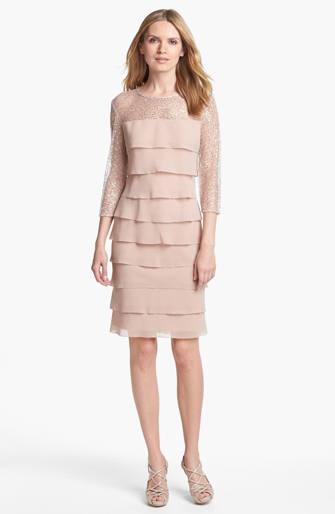 Alternate Image 3  - Alex Evenings Embellished Yoke Tiered Dress (Petite)