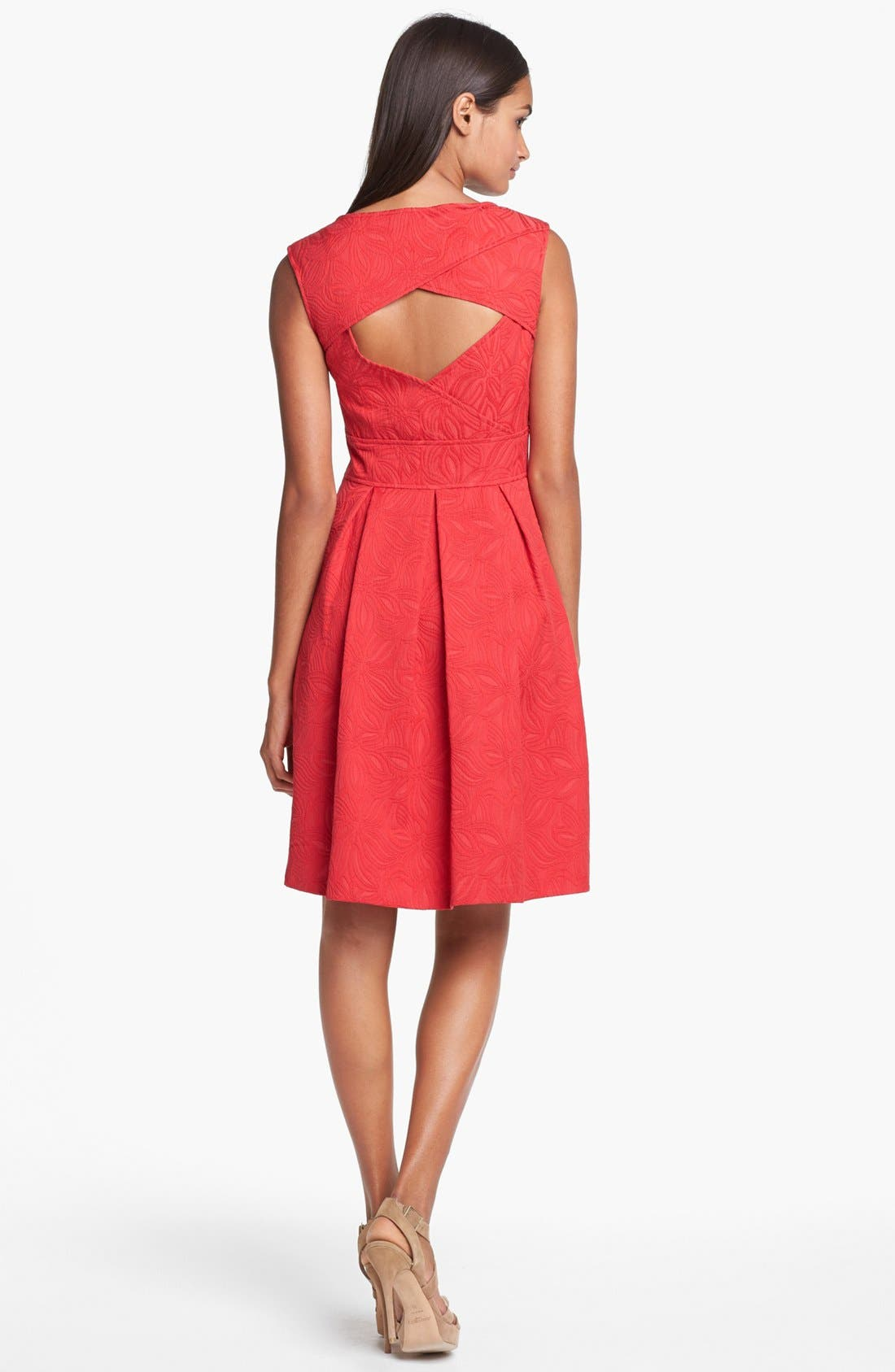 Alternate Image 2  - Adrianna Papell Floral Jacquard Fit & Flare Dress