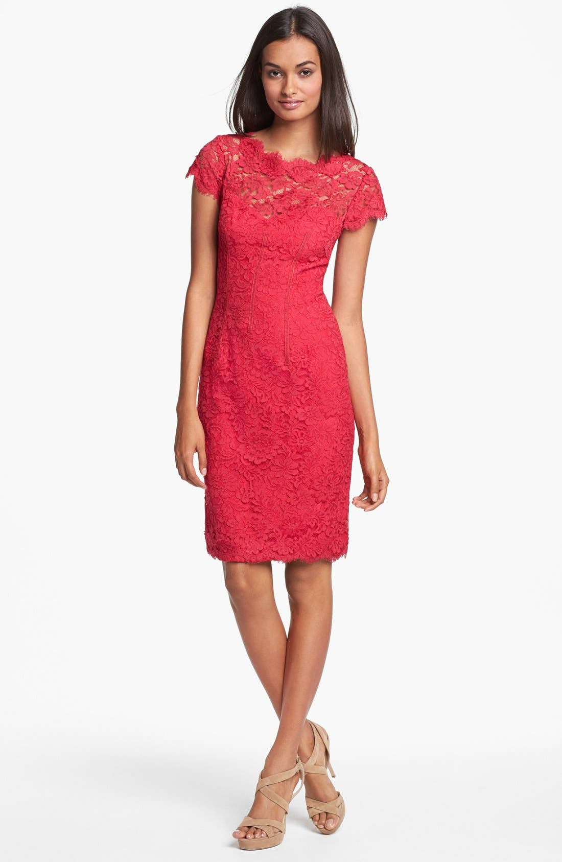 Alternate Image 3  - ML Monique Lhuillier Lace Overlay Sheath Dress