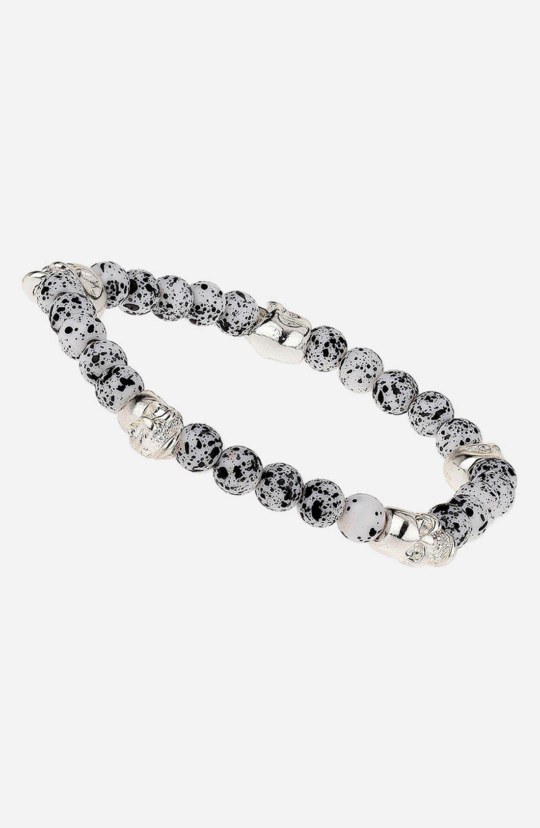 Main Image - Topman Skull & Stone Bead Stretch Bracelet
