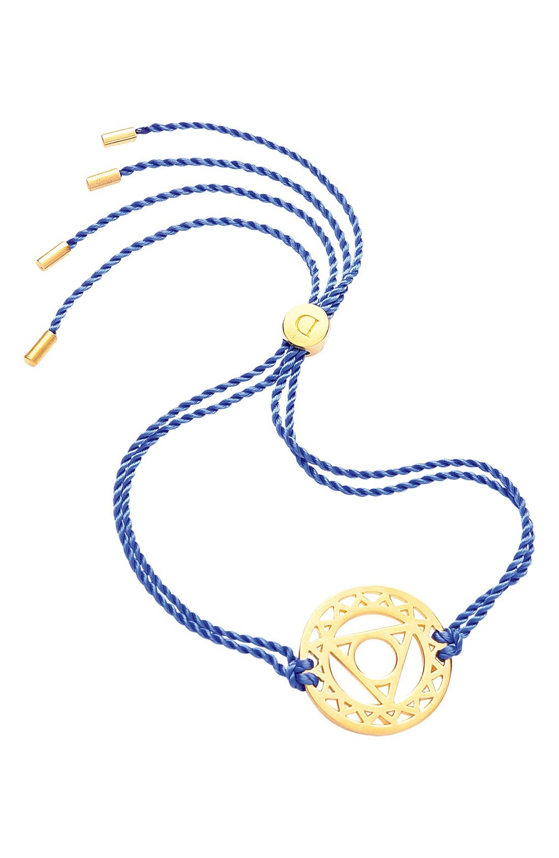 'Throat Chakra' Cord Bracelet,                         Main,                         color, 24Ct Gold Plate/Blue