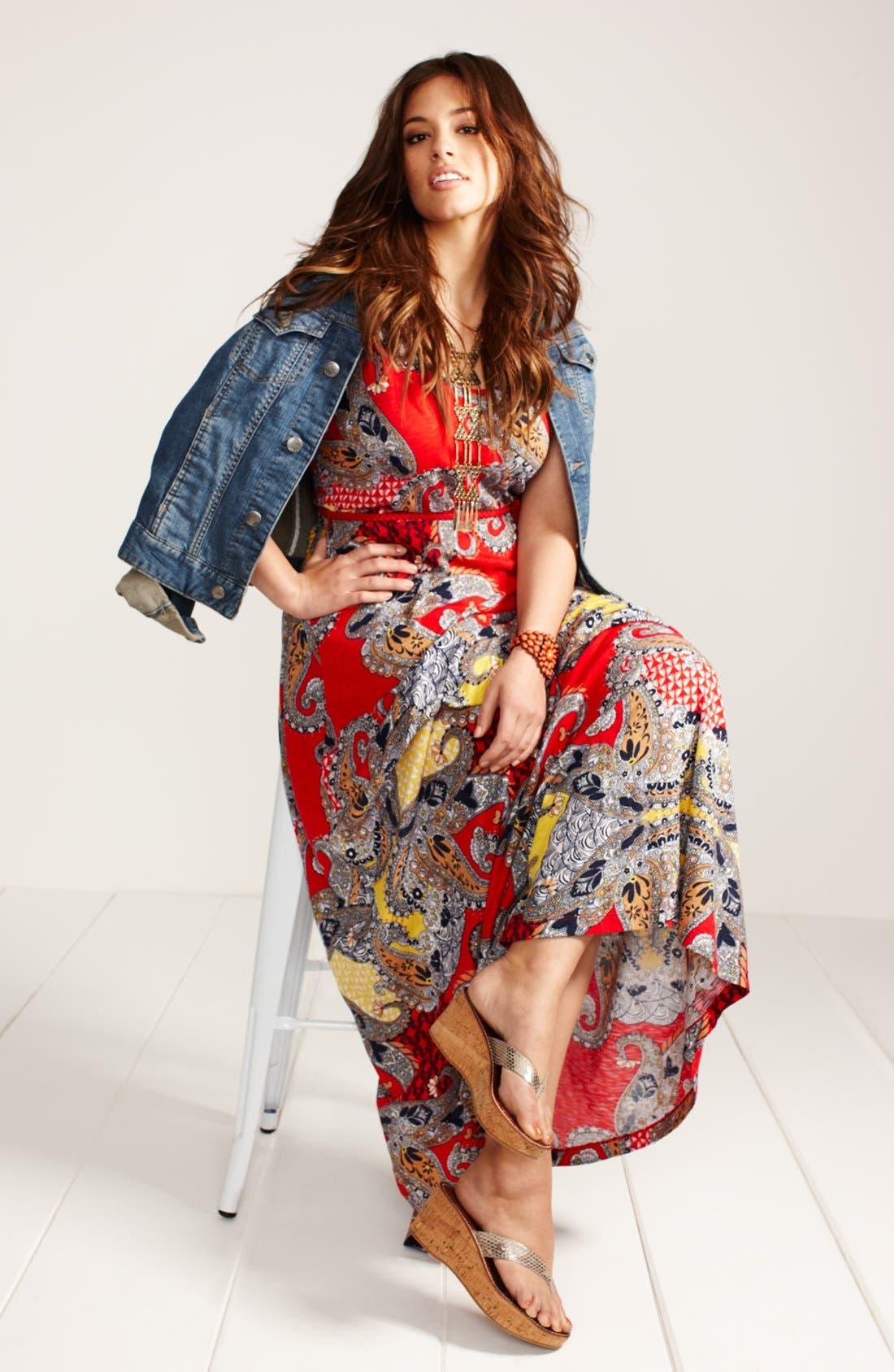 Alternate Image 4  - Lucky Brand 'Marrakesh' Paisley Print Maxi Dress (Plus Size)