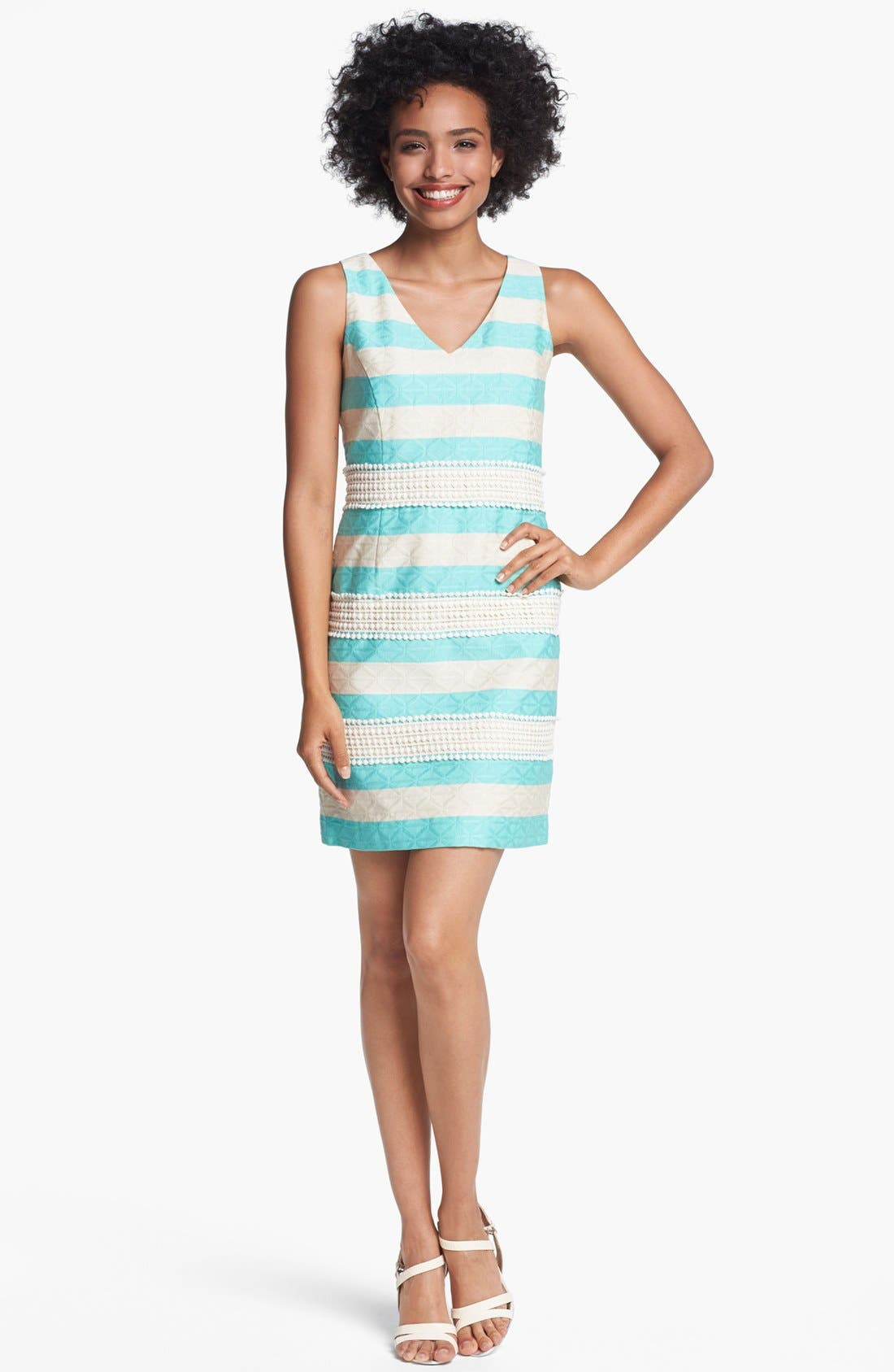 Alternate Image 1 Selected - Taylor Dresses Jacquard Stripe Lace Detail Shift Dress