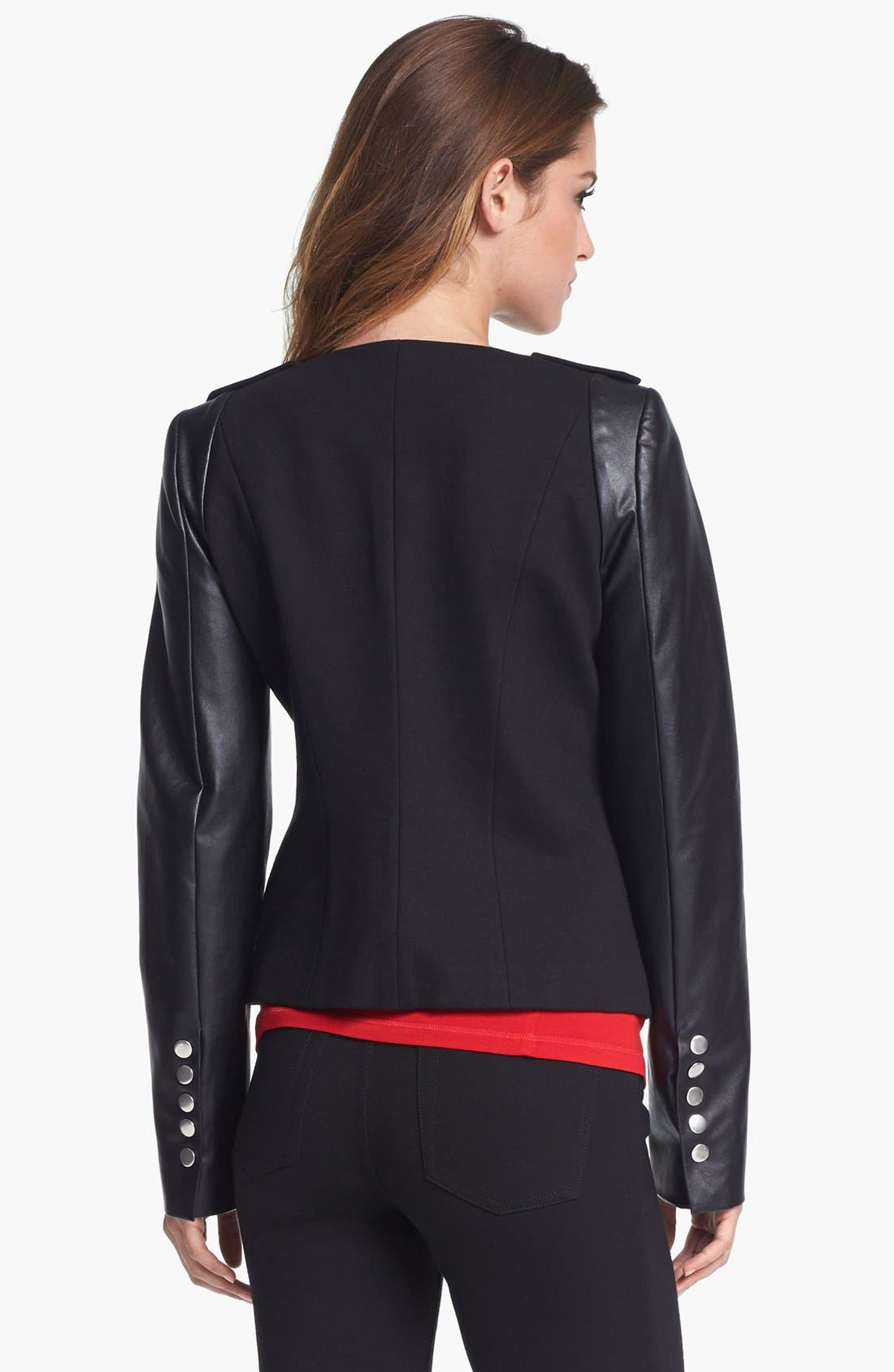 Alternate Image 3  - Vince Camuto Ponte & Faux Leather Moto Jacket (Nordstrom Exclusive)