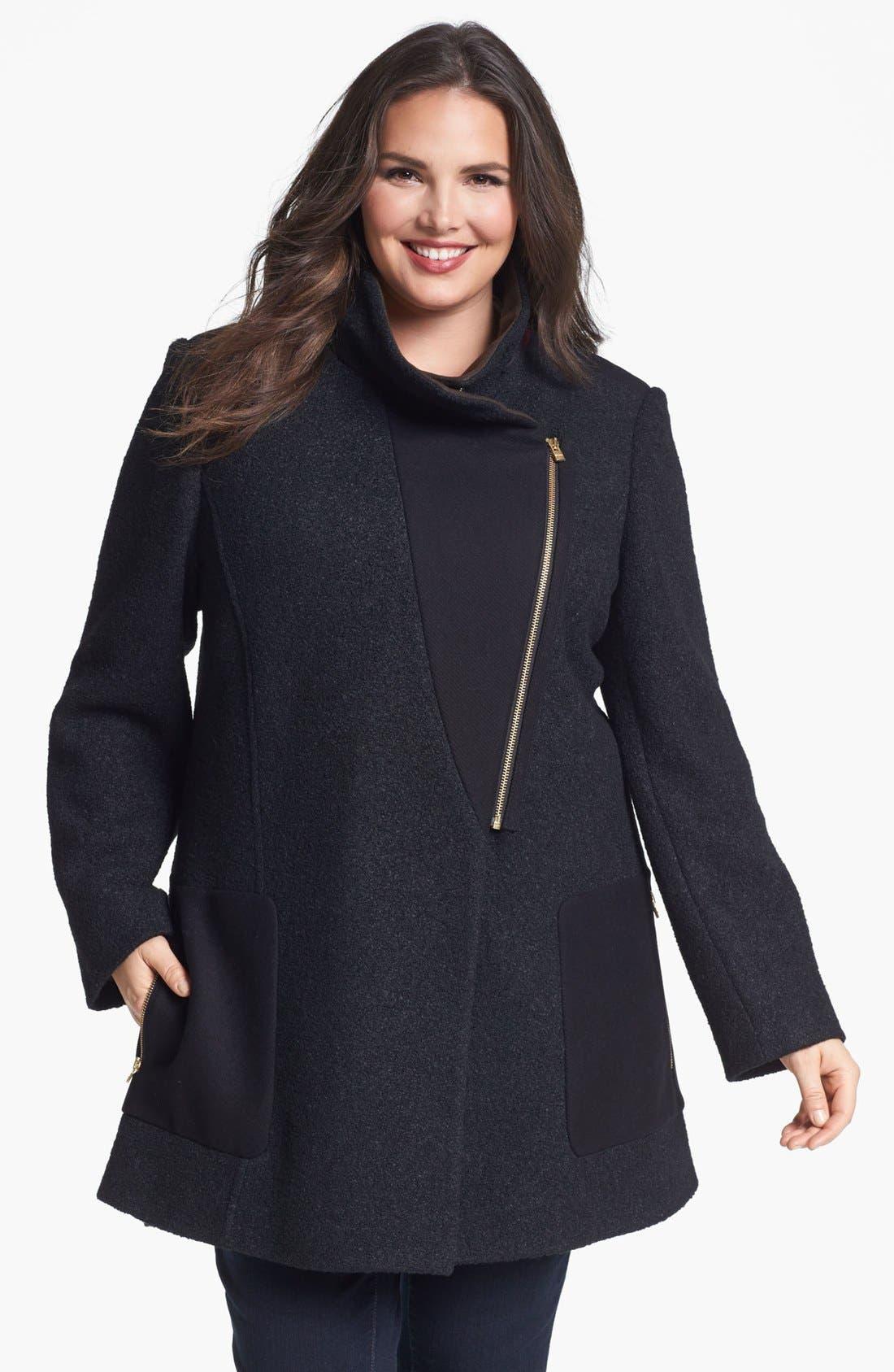 Main Image - DKNY Asymmetrical Mixed Media Coat (Plus Size) (Online Only)