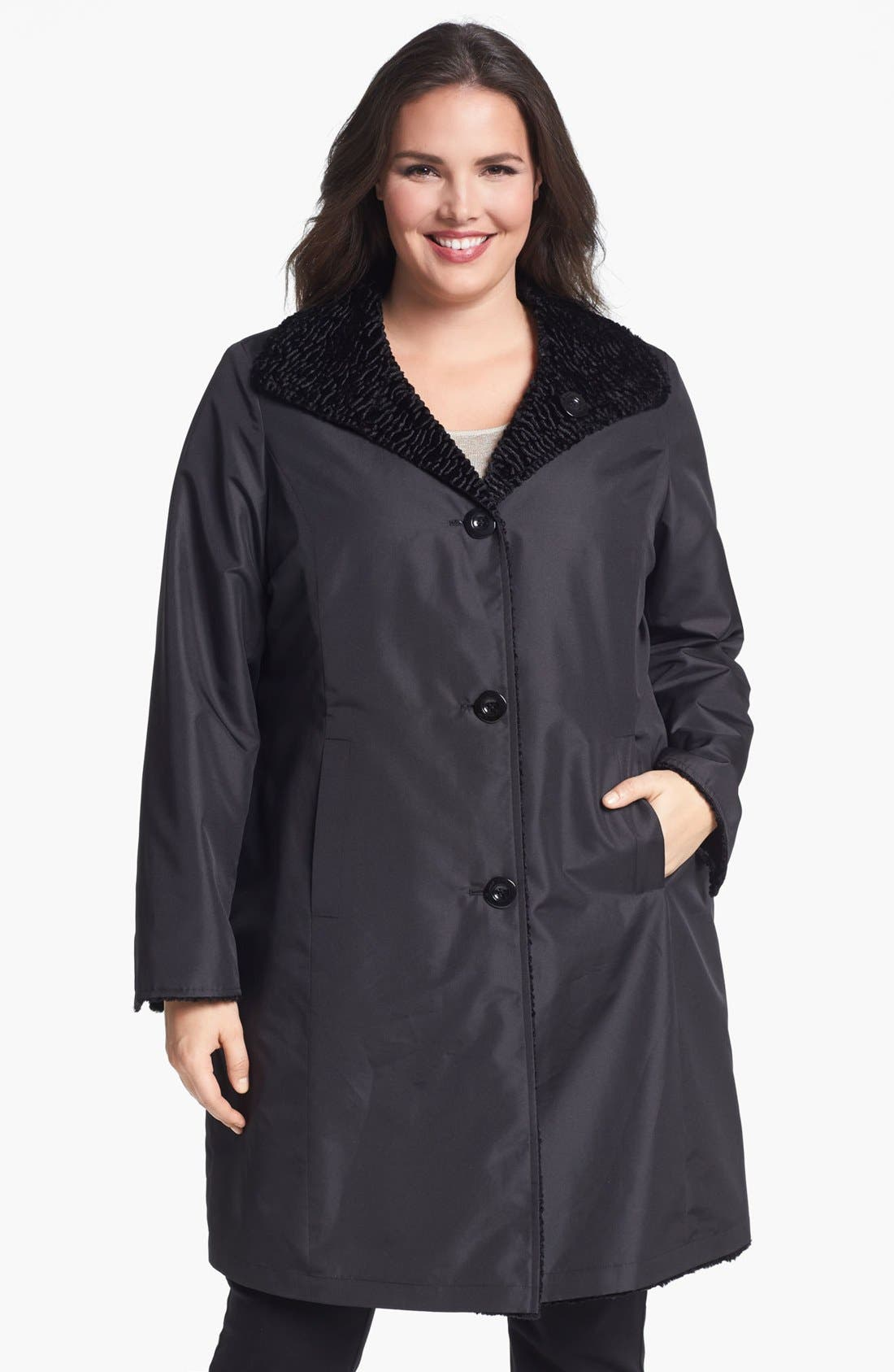 Alternate Image 2  - Ellen Tracy Reversible Faux Persian Fur Coat (Plus Size) (Nordstrom Exclusive)