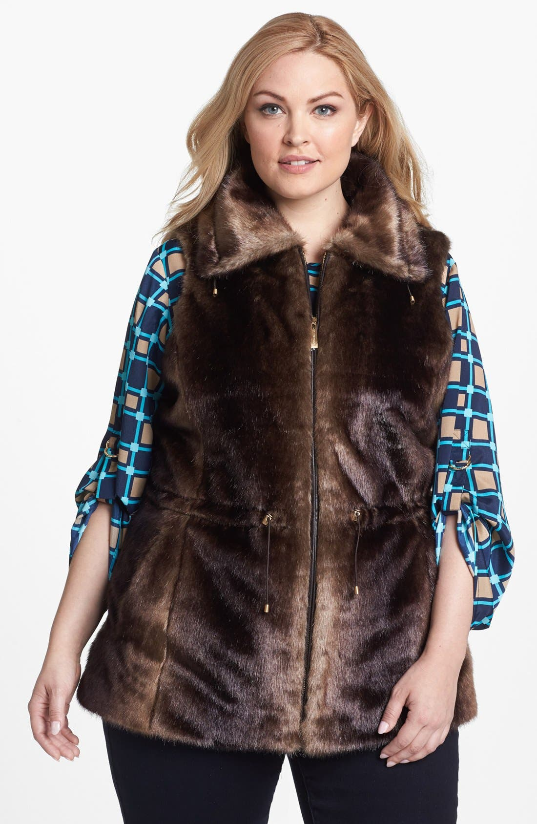 Alternate Image 1 Selected - Ellen Tracy Faux Fur Anorak Vest (Plus Size)