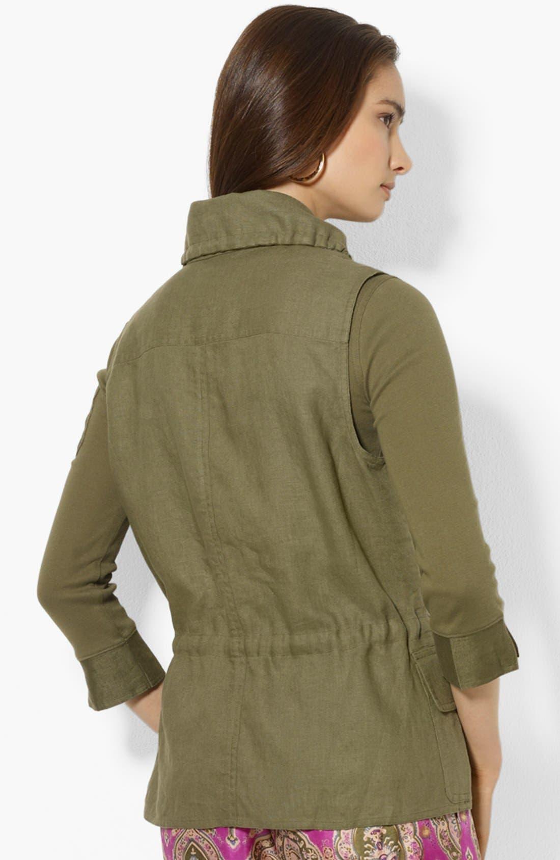 Alternate Image 2  - Lauren Ralph Lauren Drawcord Linen Vest