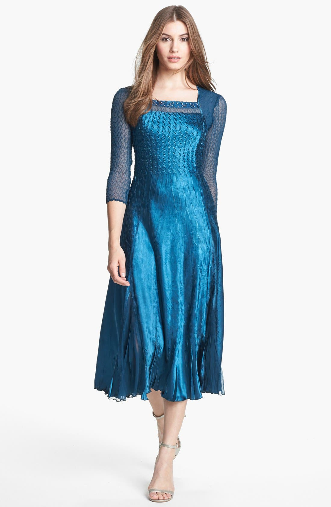 Main Image - Komarov Sheer Sleeve Textured Charmeuse Dress
