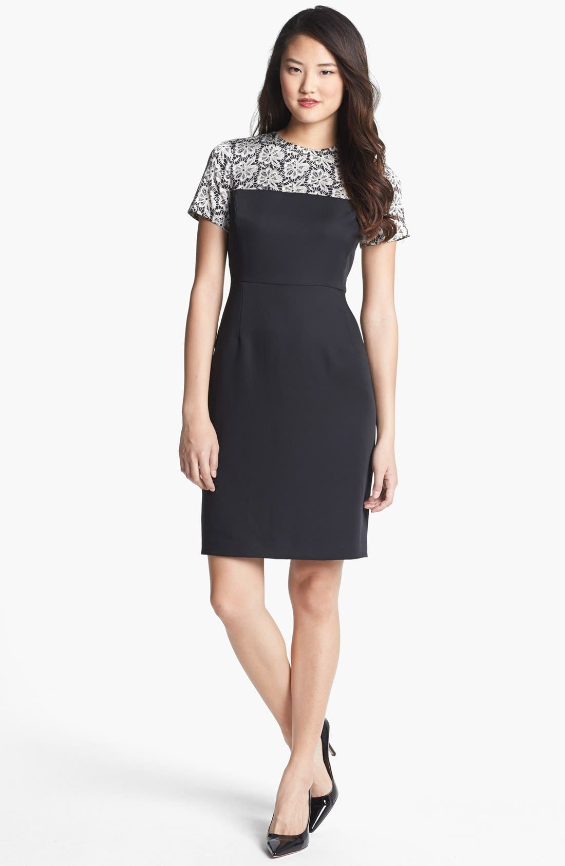 Main Image - Vince Camuto Lace Print Crepe Dress