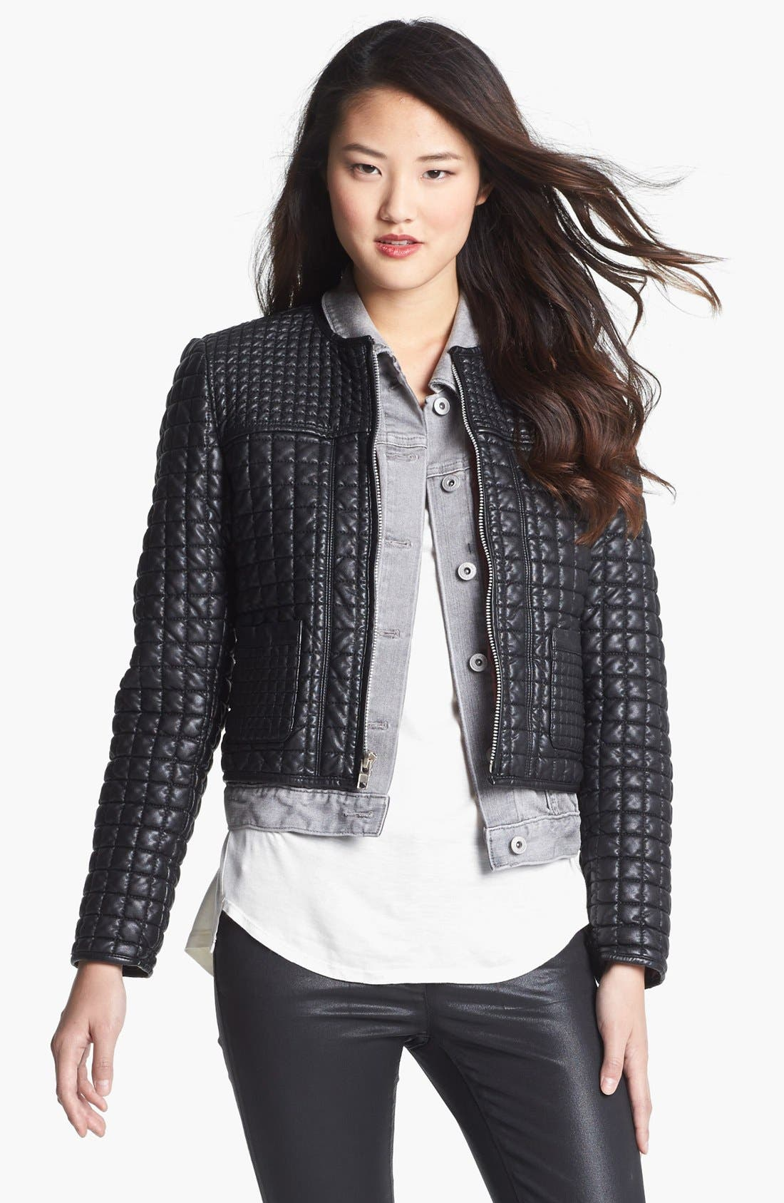 Main Image - Two by Vince Camuto 'Hathaway' Quilted Faux Leather Jacket