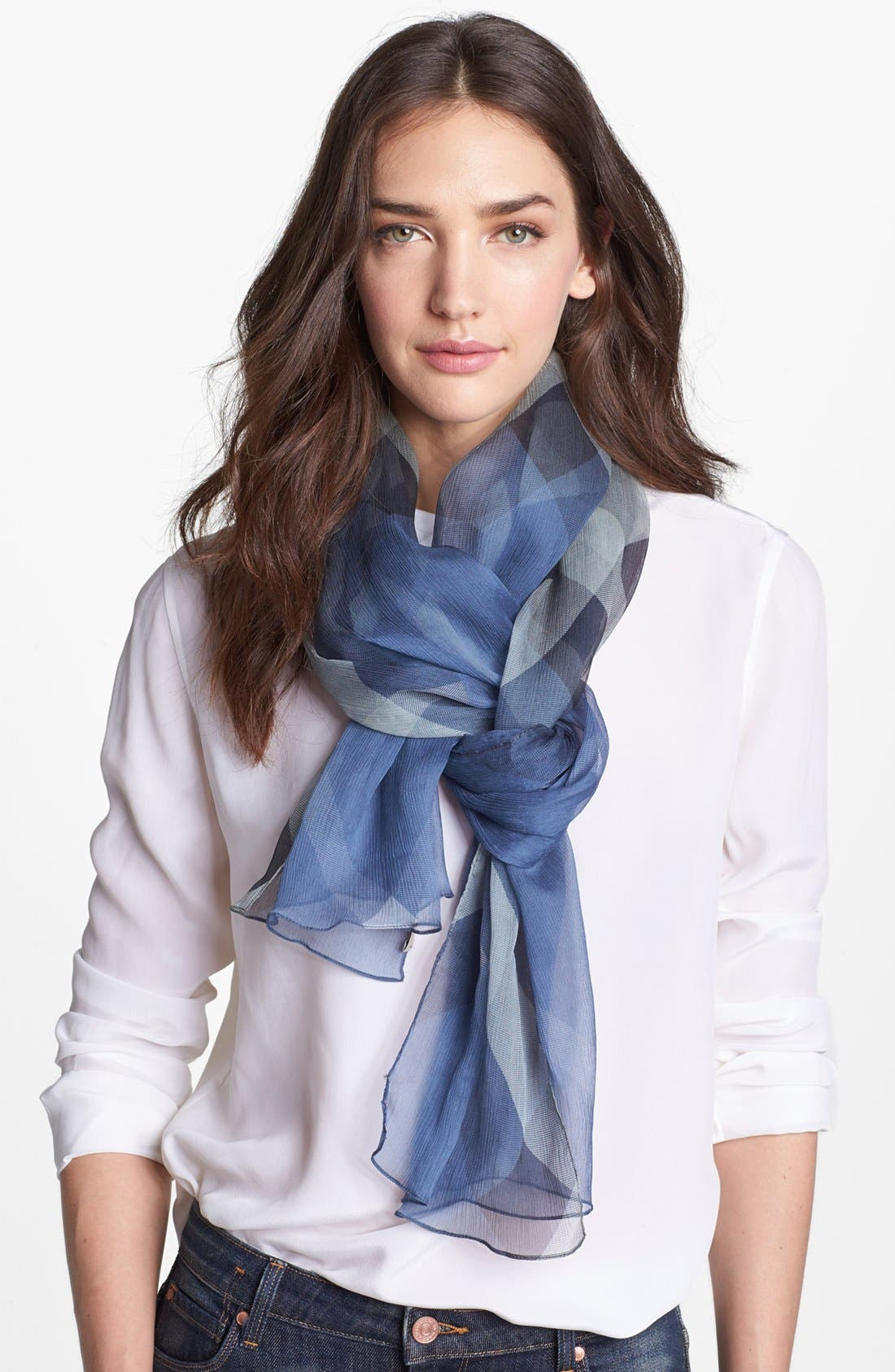 Alternate Image 1 Selected - Burberry Check Print Silk Crepon Scarf