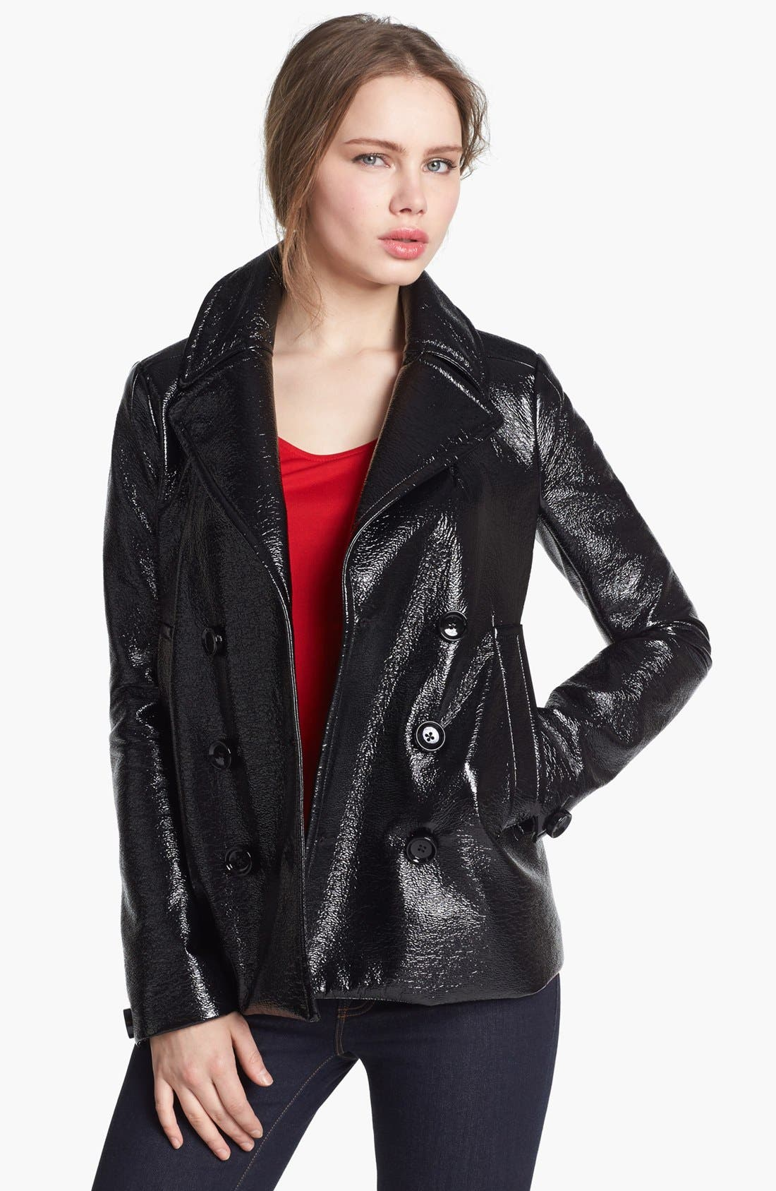 Alternate Image 1 Selected - Vince Camuto Faux Leather Peacoat