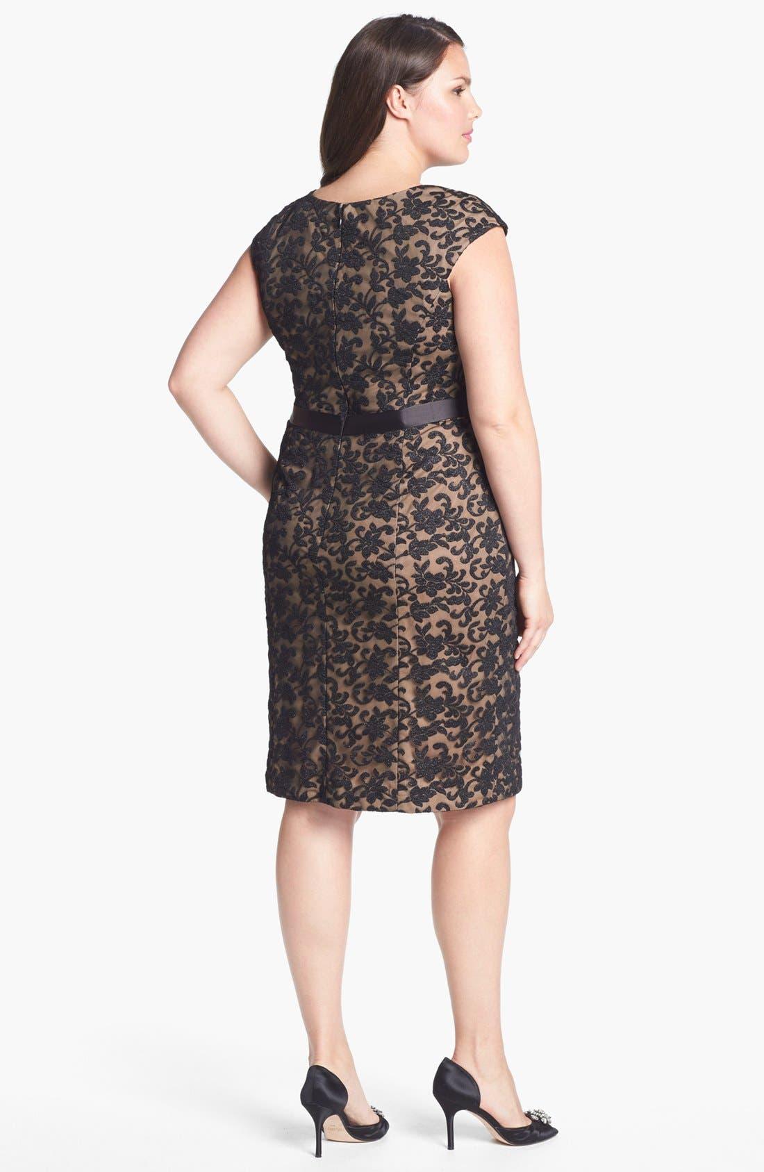 Alternate Image 2  - Alex Evenings Cap Sleeve Lace Sheath Dress (Plus Size)