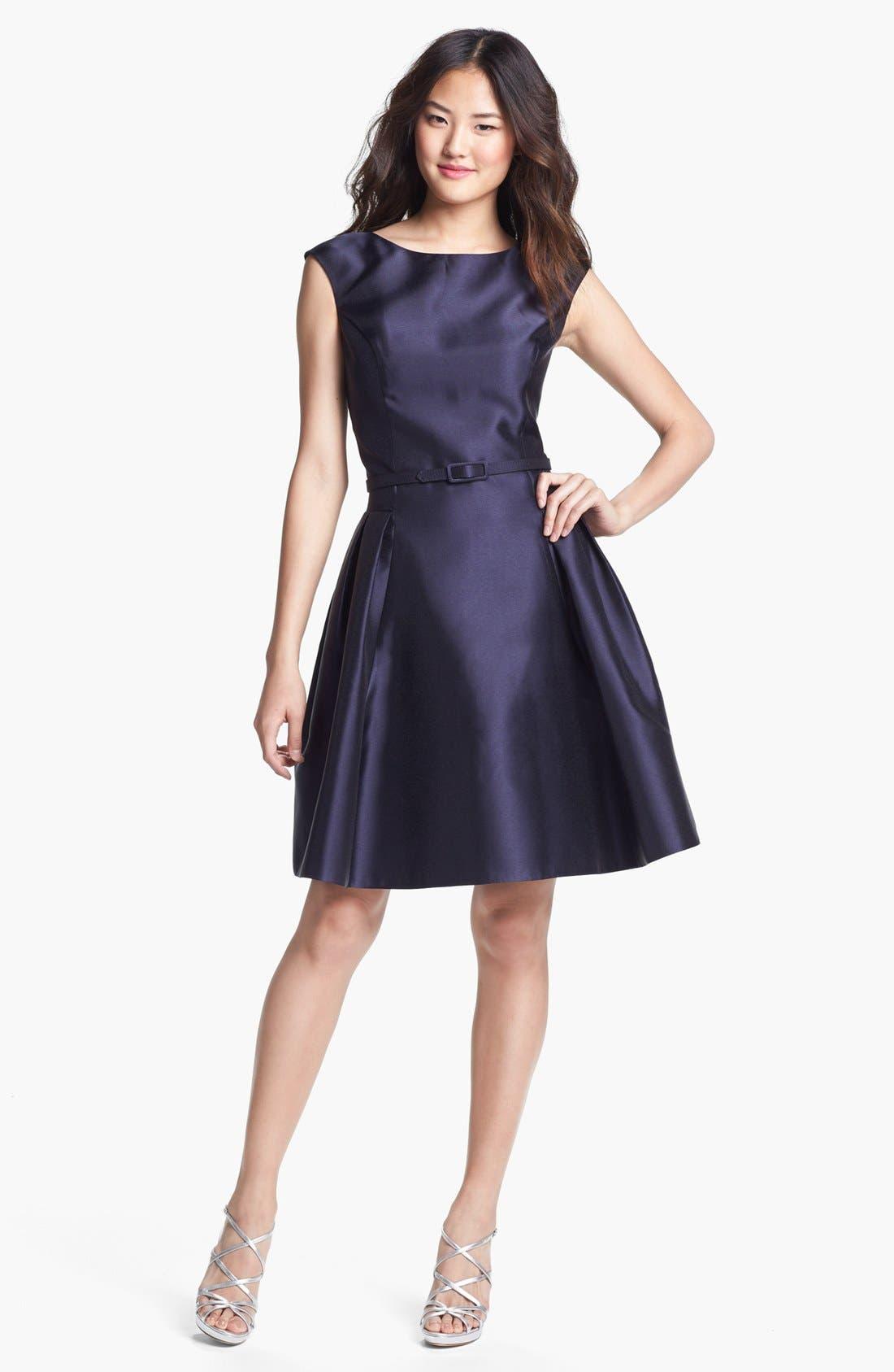 Main Image - Eliza J Satin Fit & Flare Dress