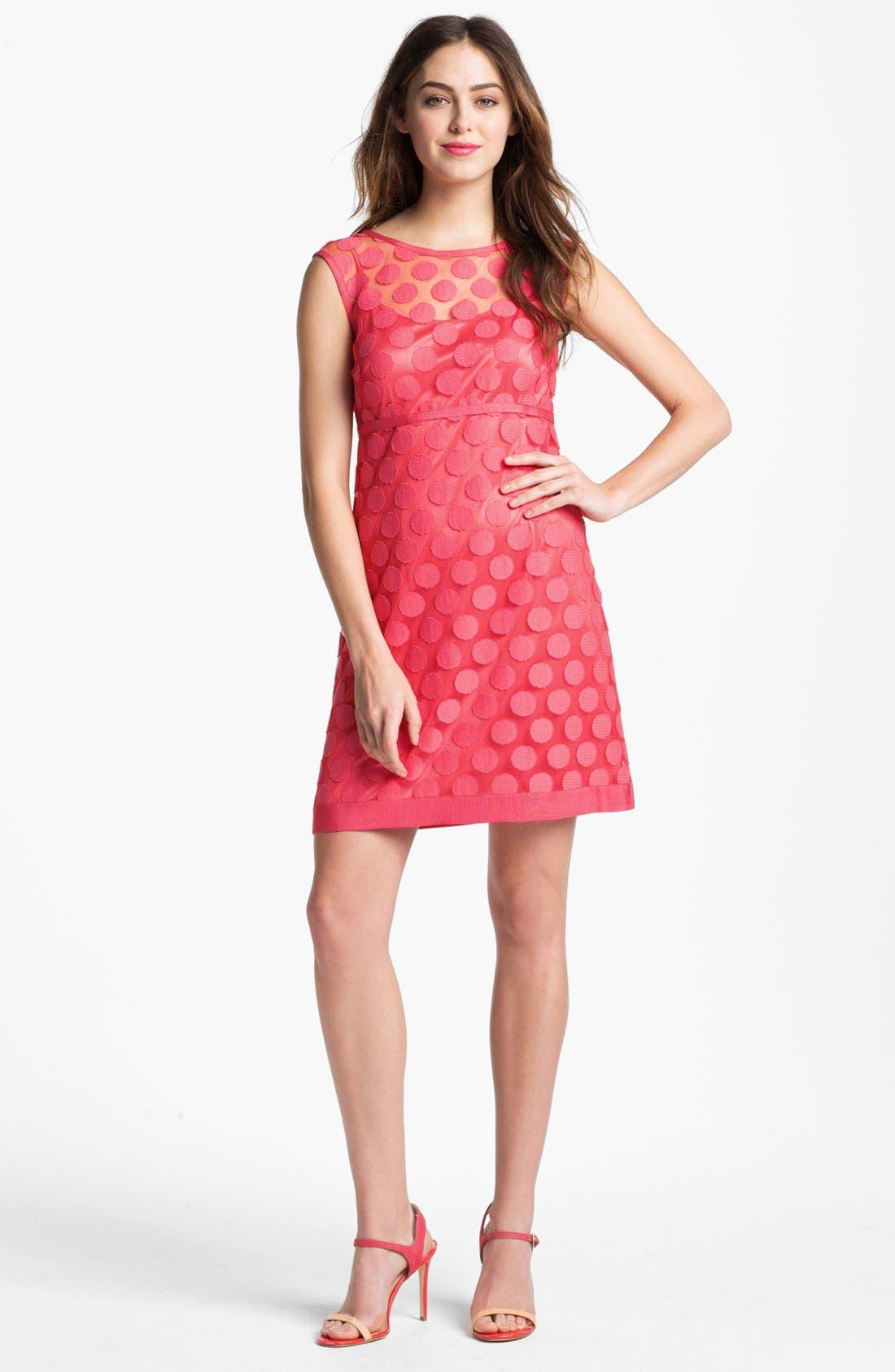 Polka Dot Lace A-Line Dress,                         Main,                         color, Geranium