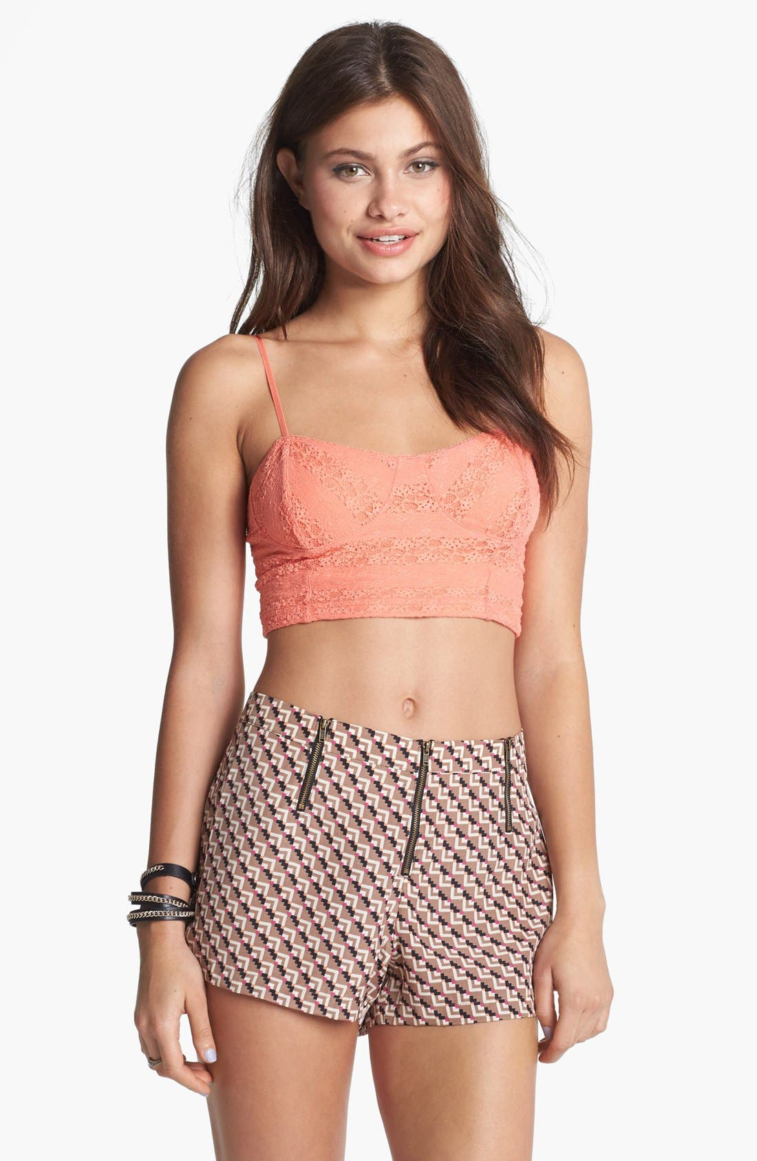 Main Image - Mimi Chica High Waisted Print Shorts (Juniors)