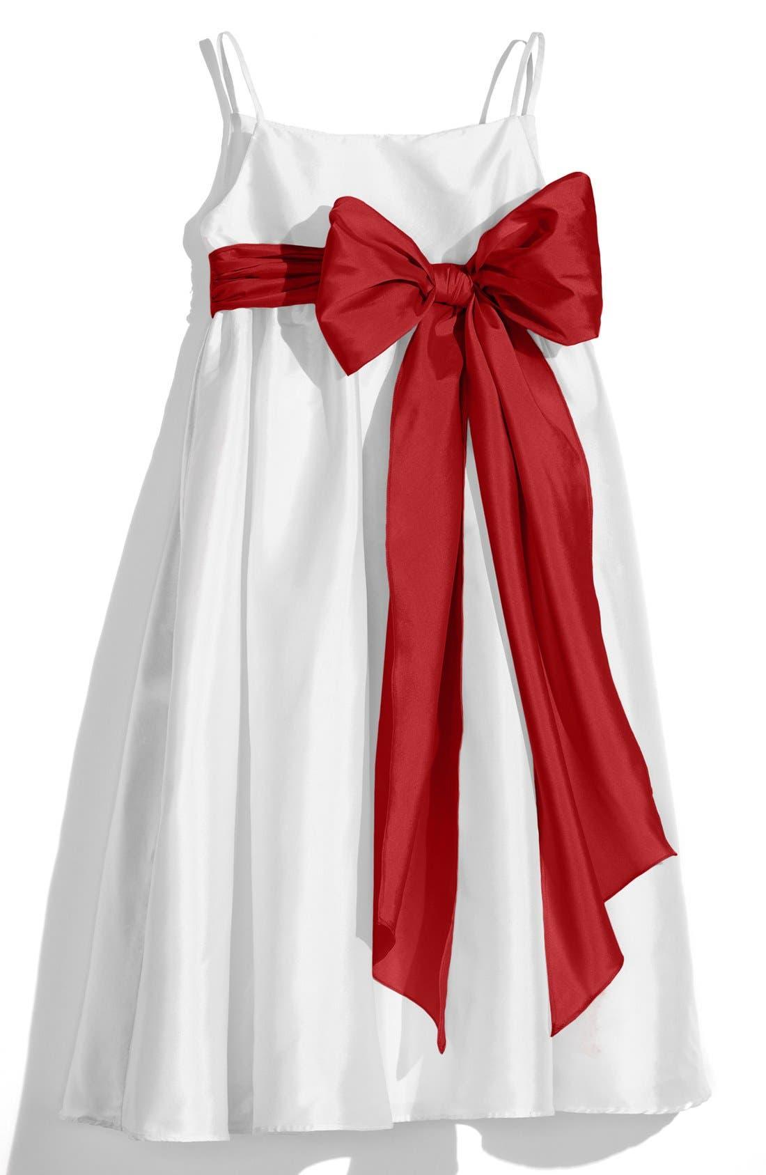 White Sleeveless Empire Waist Taffeta Dress,                             Main thumbnail 1, color,                             White/ Rouge