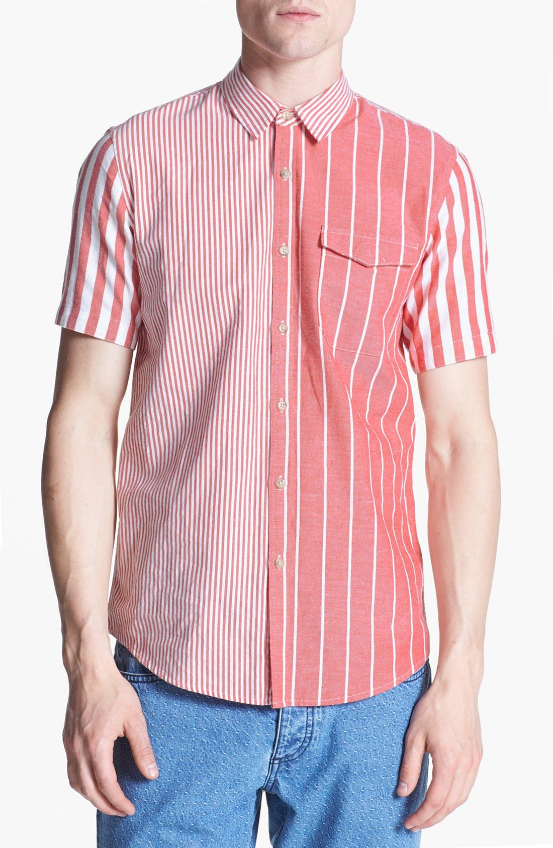 Main Image - Topman Mixed Stripe Panel Shirt