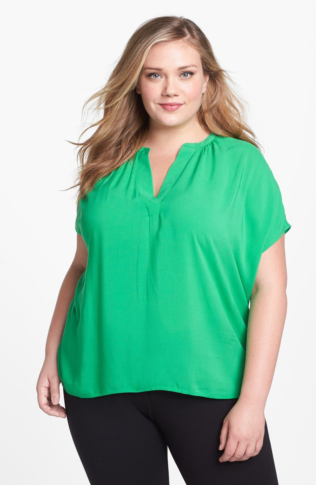 Main Image - Two by Vince Camuto Mixed Media Blouse (Plus Size)