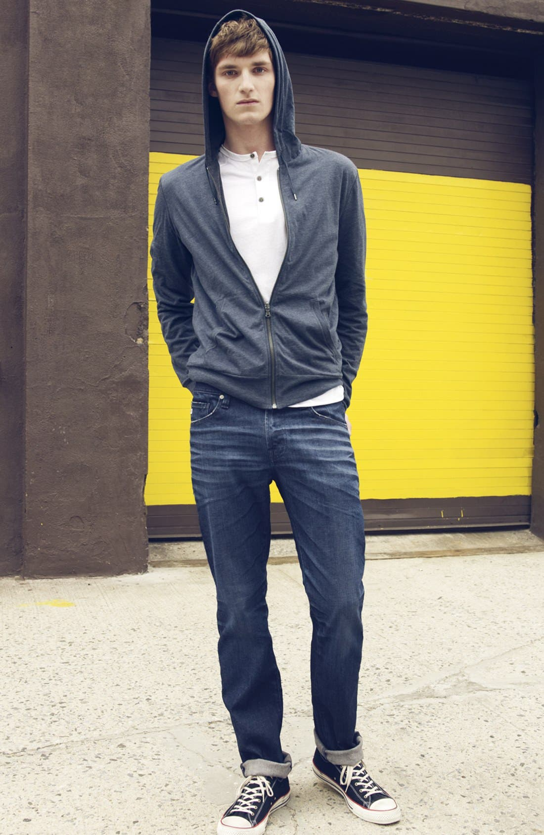 Main Image - John Varvatos Star USA Double Layer Hoodie & AG Jeans Tailored Fit Jeans