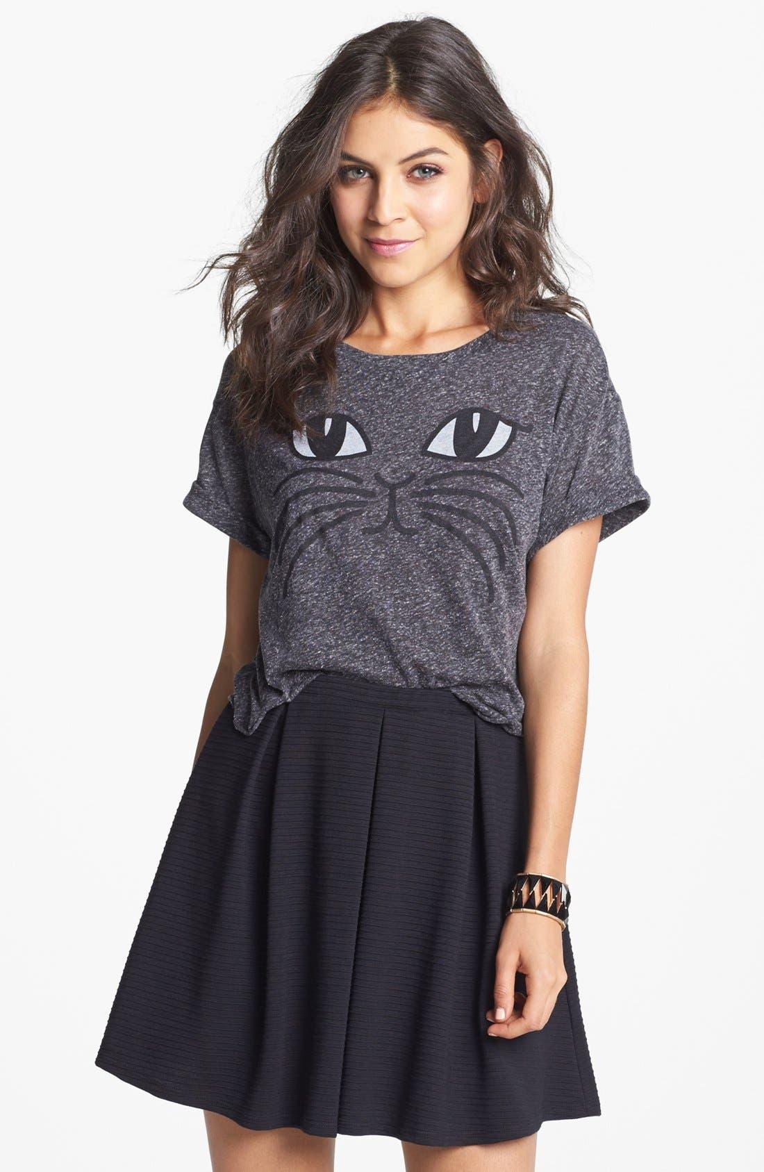 Main Image - h.i.p. Box Pleat Textured Skirt (Juniors)