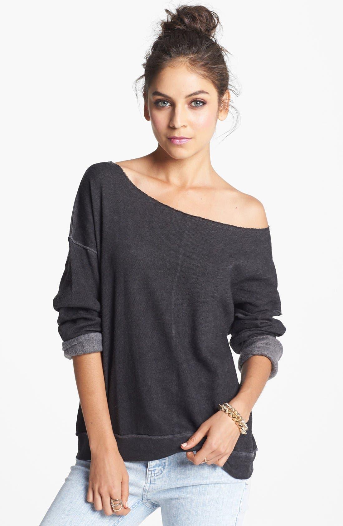 Alternate Image 1 Selected - Rubbish® Wide Neck Sweatshirt (Juniors)
